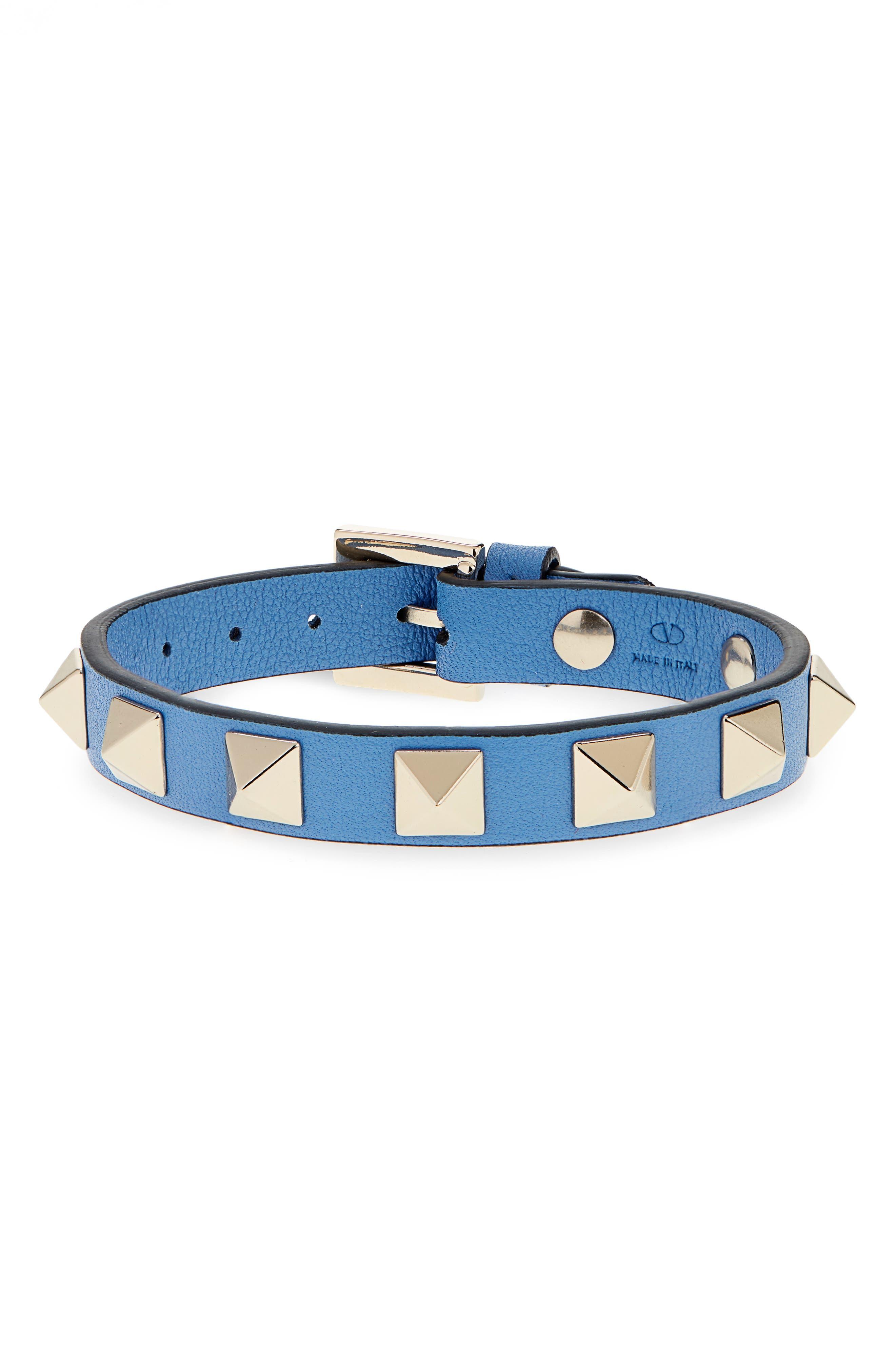 Rockstud Small Leather Bracelet,                             Main thumbnail 1, color,                             400