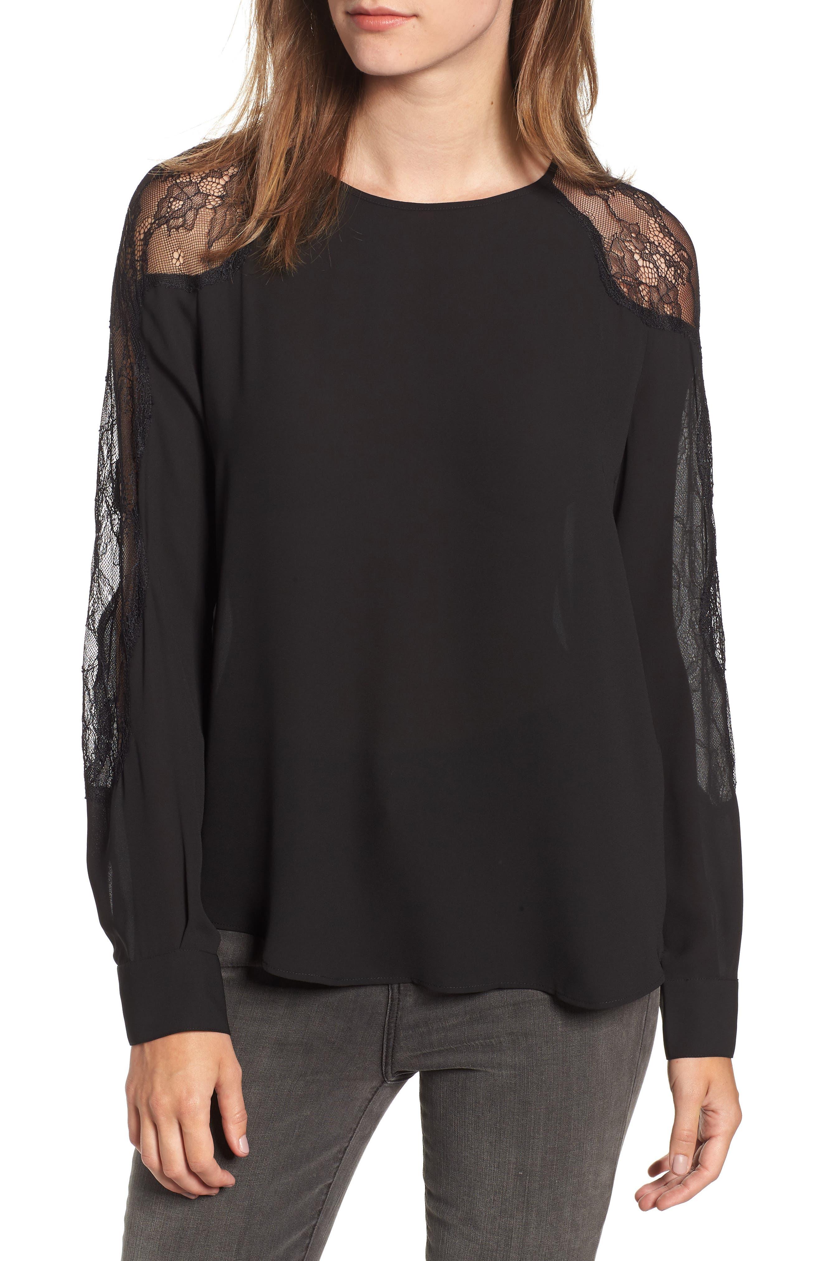Lace Inset Blouse,                         Main,                         color, BLACK