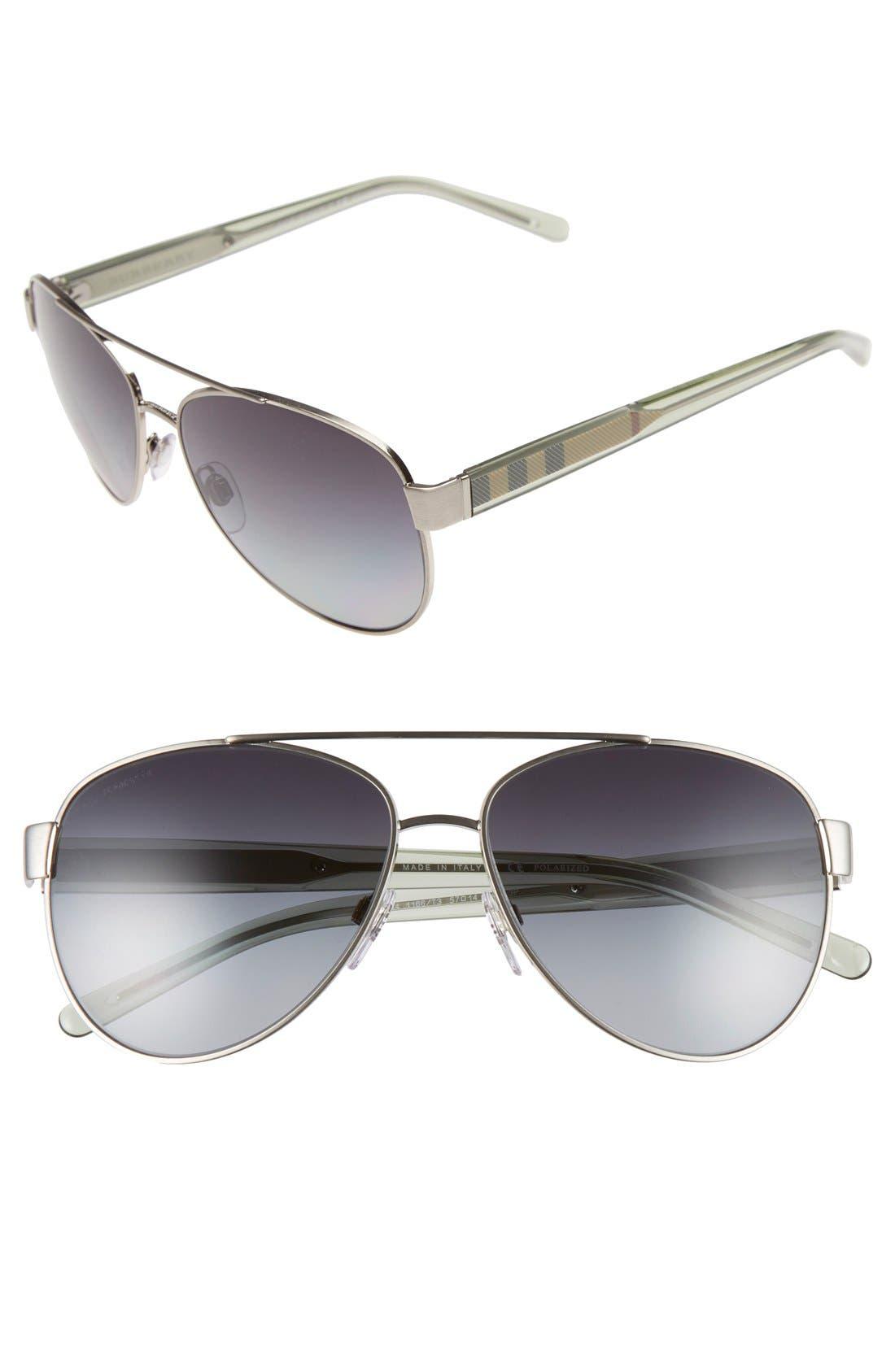 57mm Polarized Aviator Sunglasses,                             Main thumbnail 1, color,