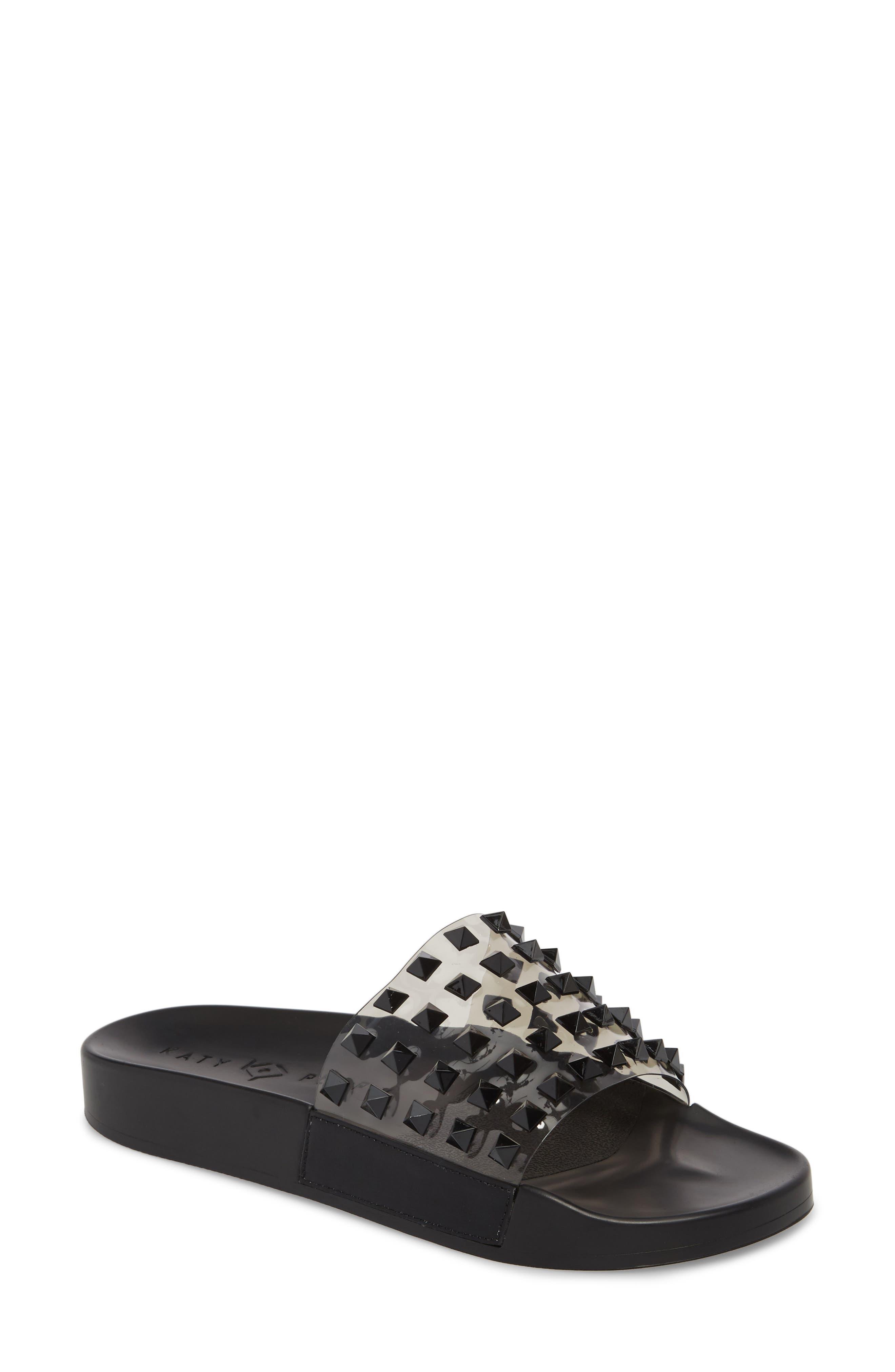 Studded Slide Sandal,                             Main thumbnail 1, color,                             001