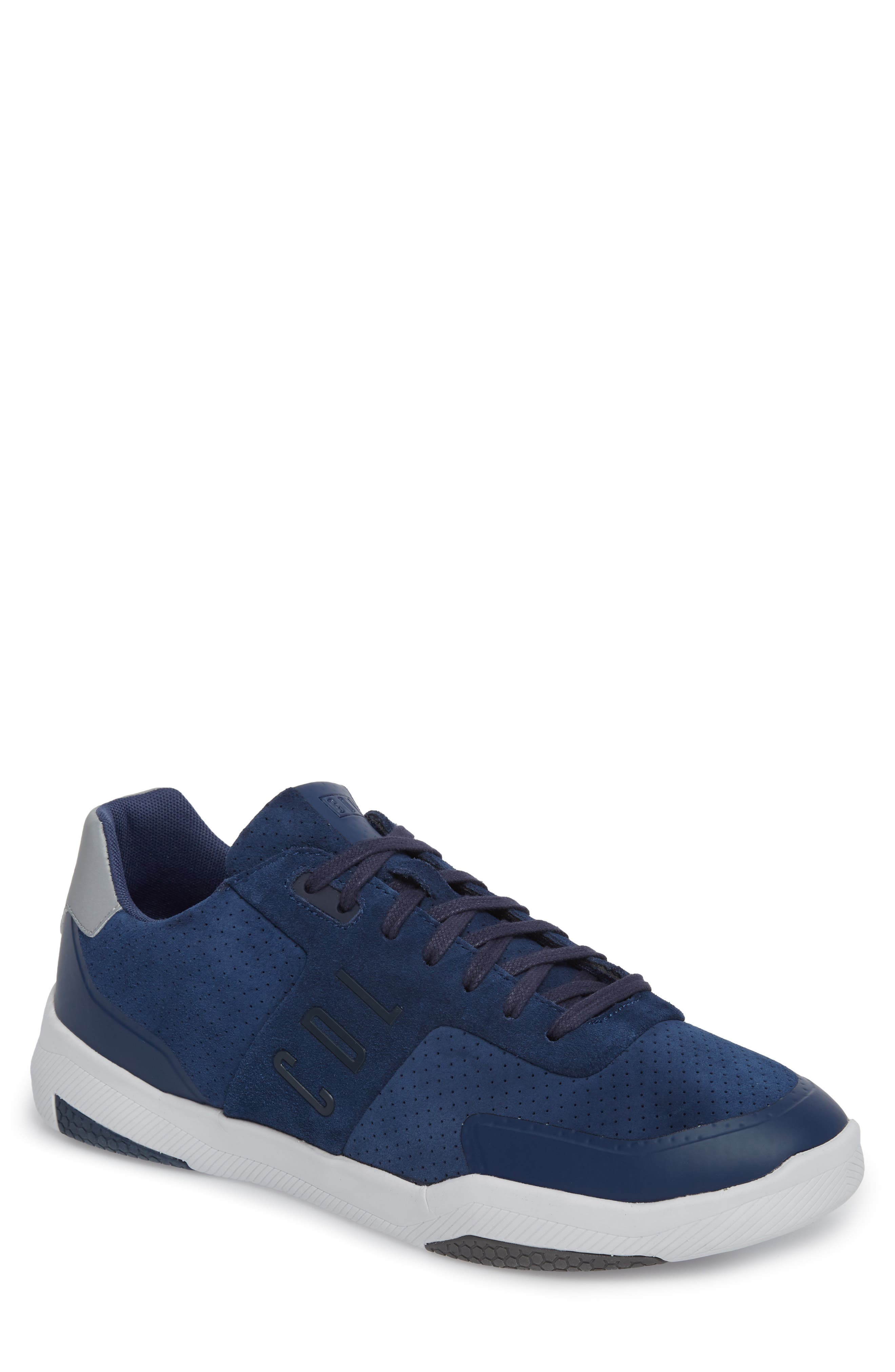 Shima Low Top Sneaker,                             Main thumbnail 1, color,                             NAVY SUEDE