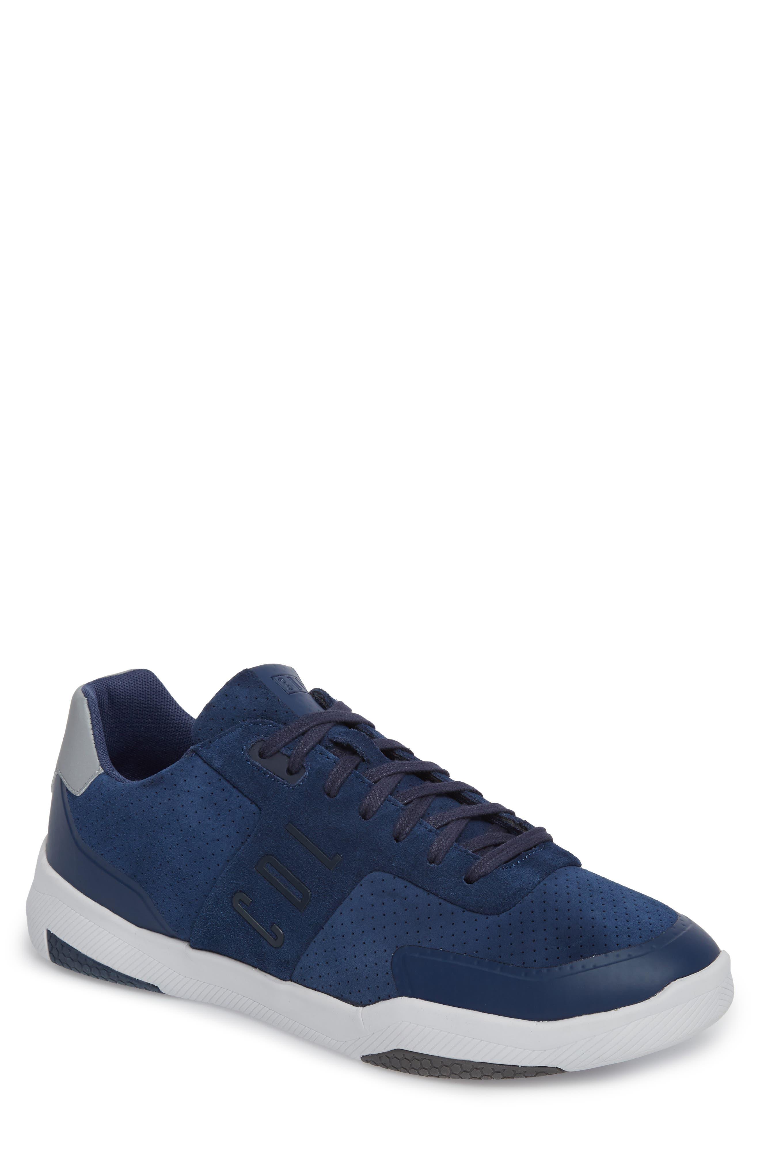Shima Low Top Sneaker,                         Main,                         color, NAVY SUEDE