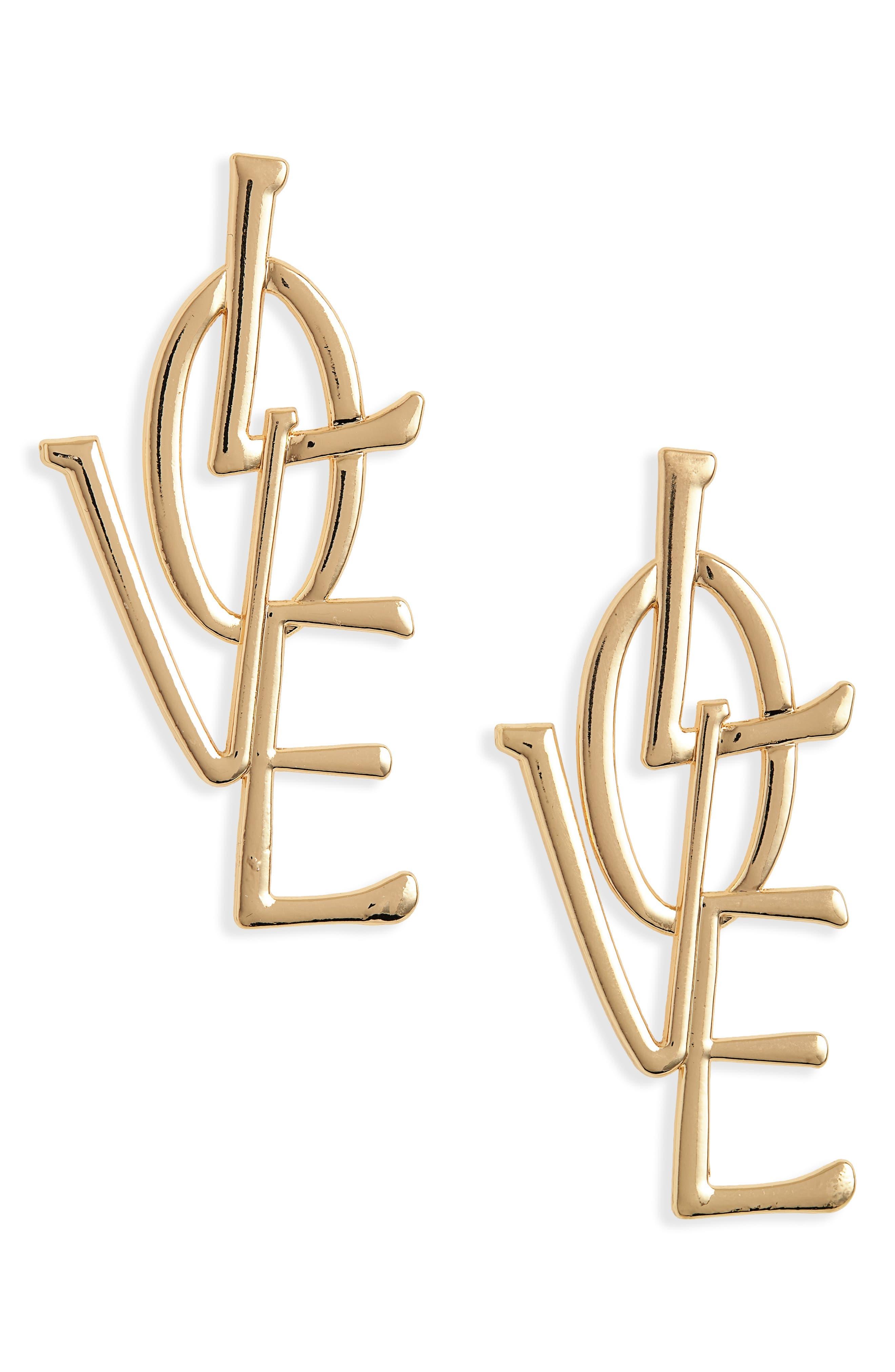 Love Earrings,                             Main thumbnail 1, color,                             GOLD