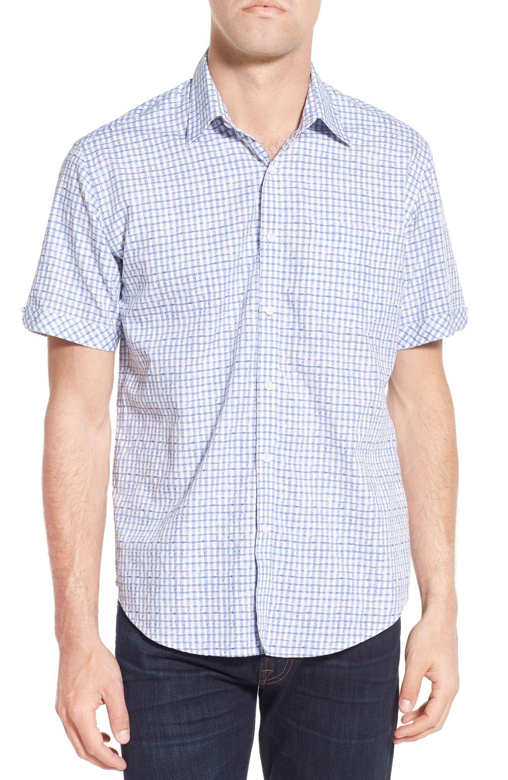 f451282628c2 James Campbell  Glencoe  Regular Fit Layered Print Short Sleeve Sport Shirt