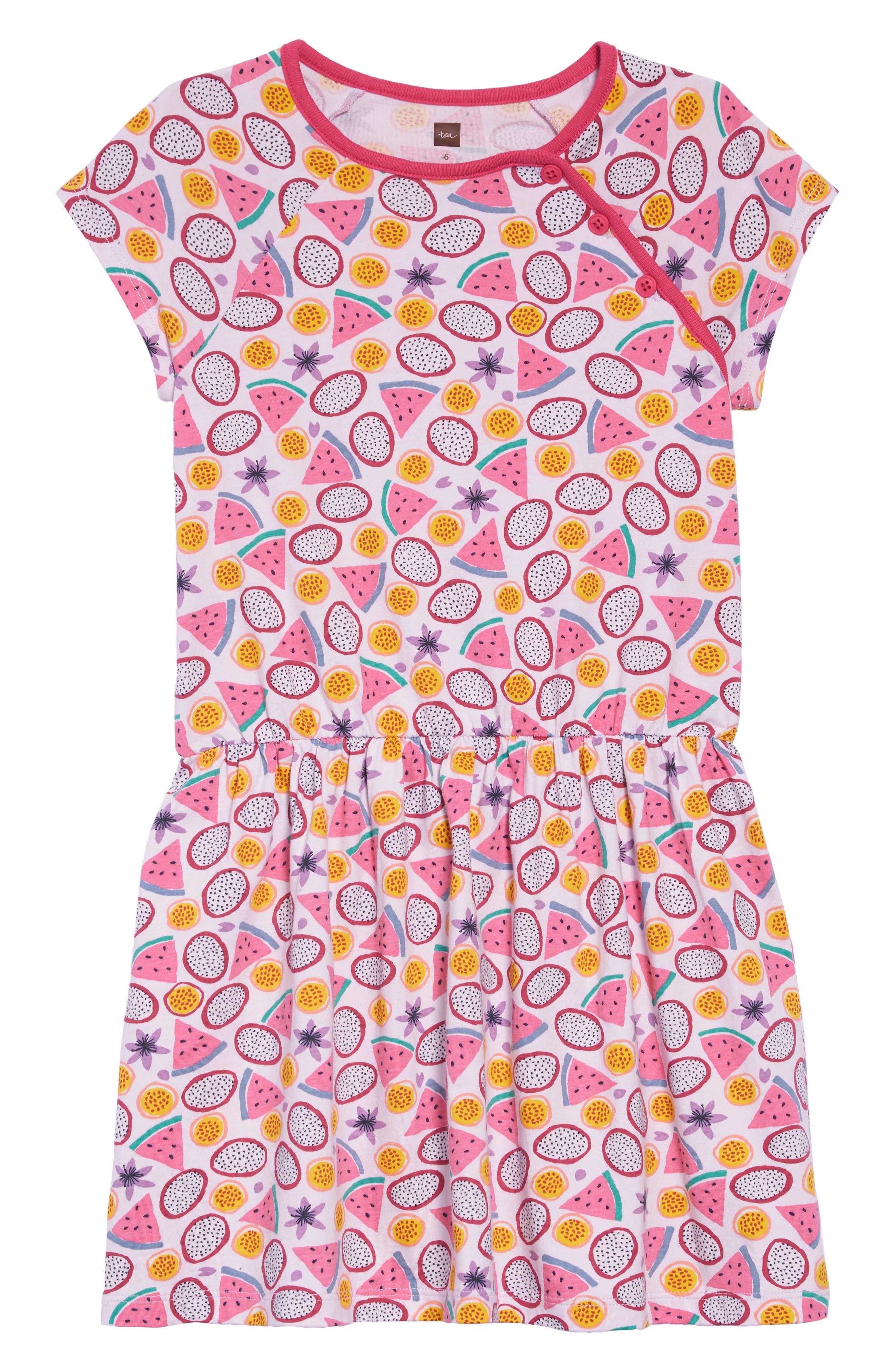 TEA COLLECTION,                             Tropical Fruit Raglan Dress,                             Main thumbnail 1, color,                             TROPICAL TOSS