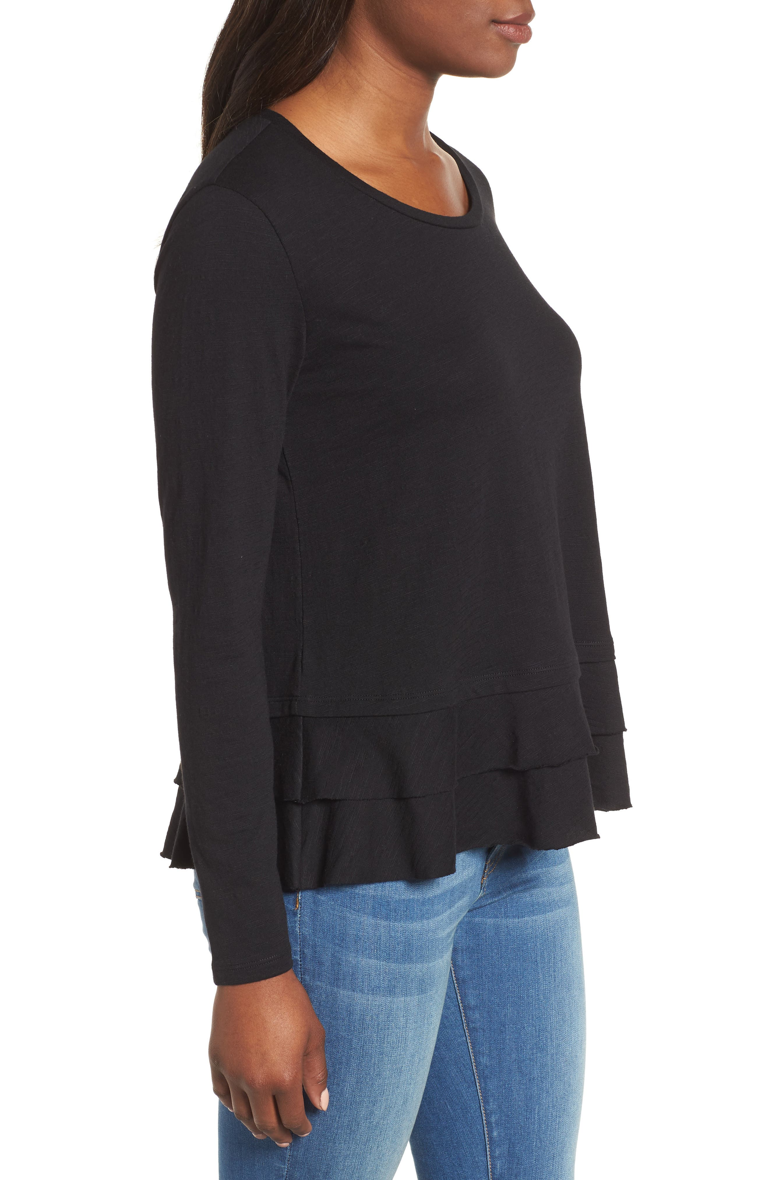 Tiered Long Sleeve Tee,                             Alternate thumbnail 3, color,                             001