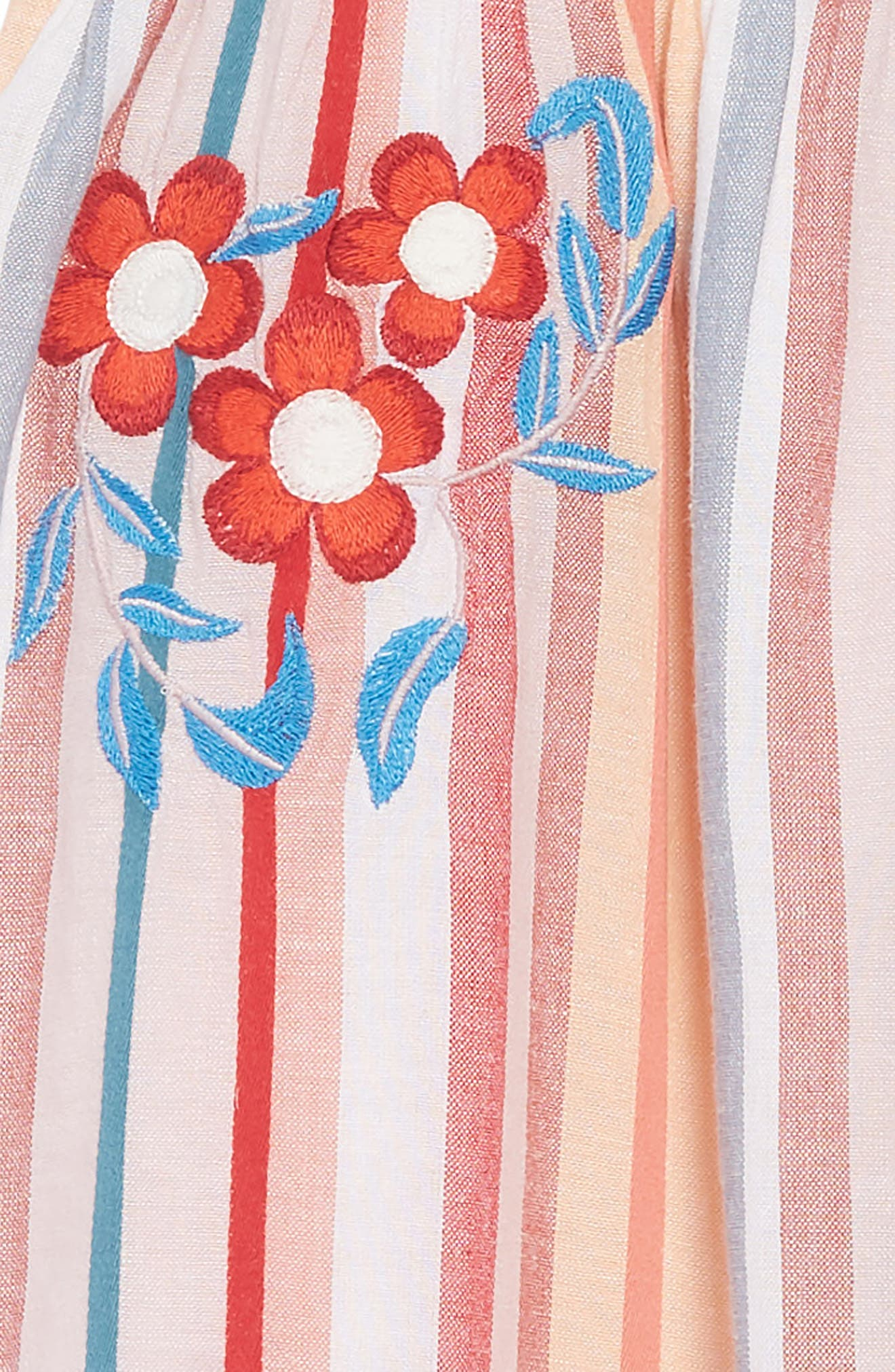 Embroidered Stripe Dress,                             Alternate thumbnail 3, color,                             IVORY EGRET MULTI STRIPE