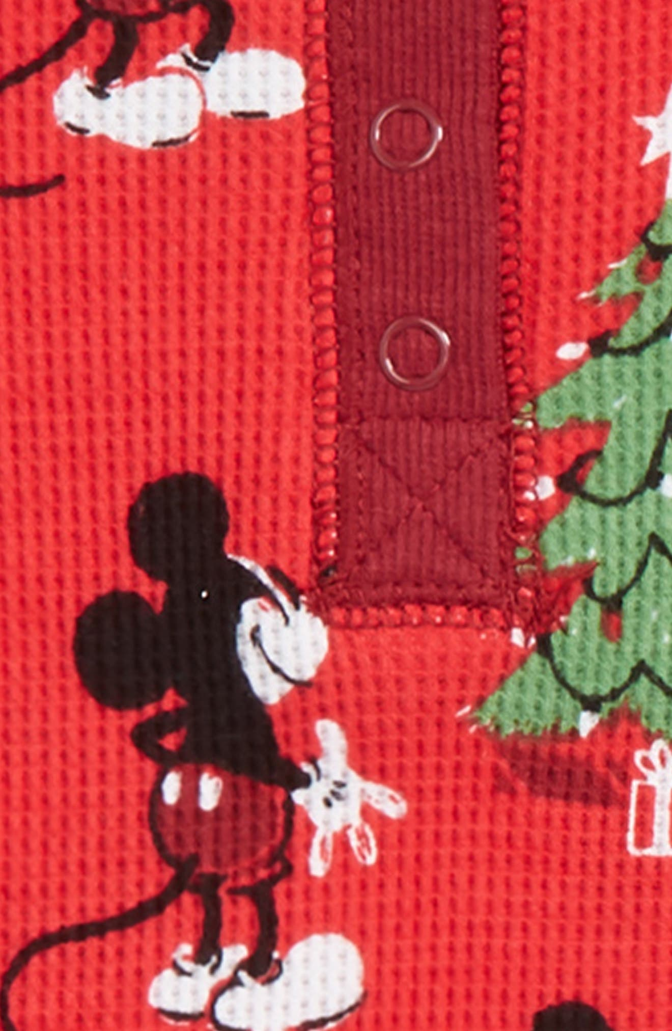 x Disney Mickey Mouse Christmas Fitted Two-Piece Pajamas,                             Alternate thumbnail 2, color,                             RED