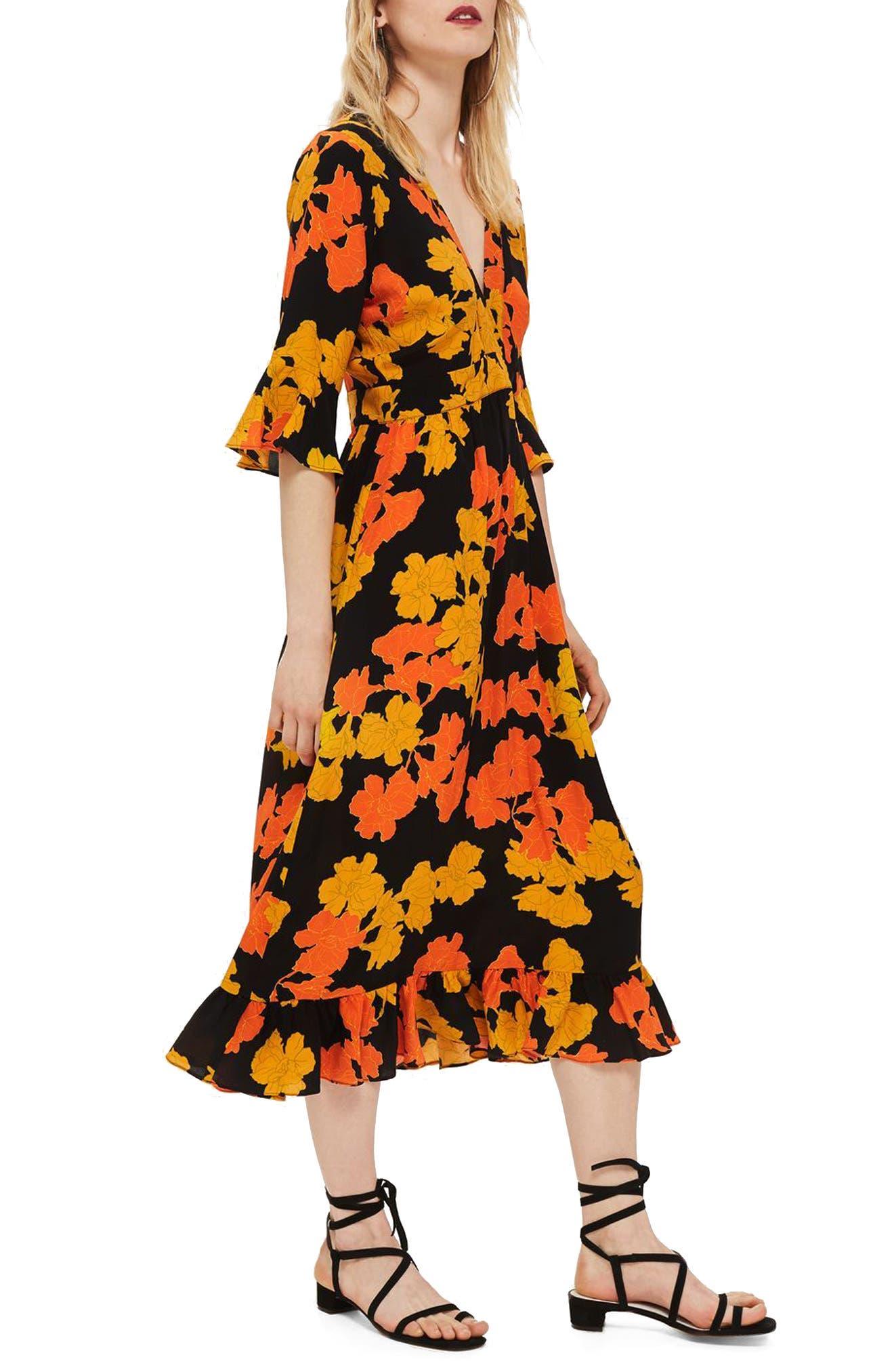 TOPSHOP,                             Bold Floral Midi Dress,                             Main thumbnail 1, color,                             001