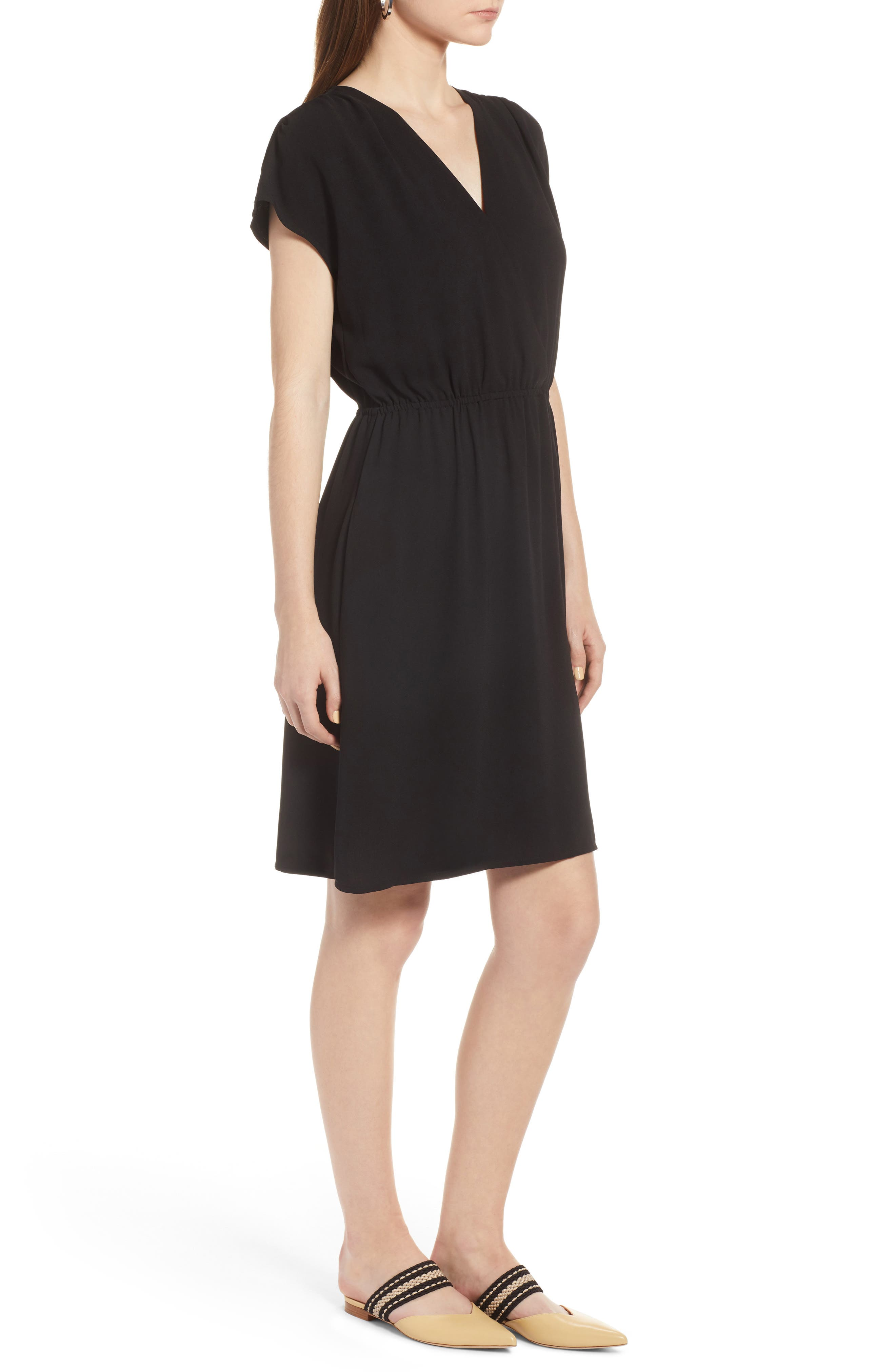 HALOGEN<SUP>®</SUP>, Faux Wrap Dress, Alternate thumbnail 4, color, BLACK