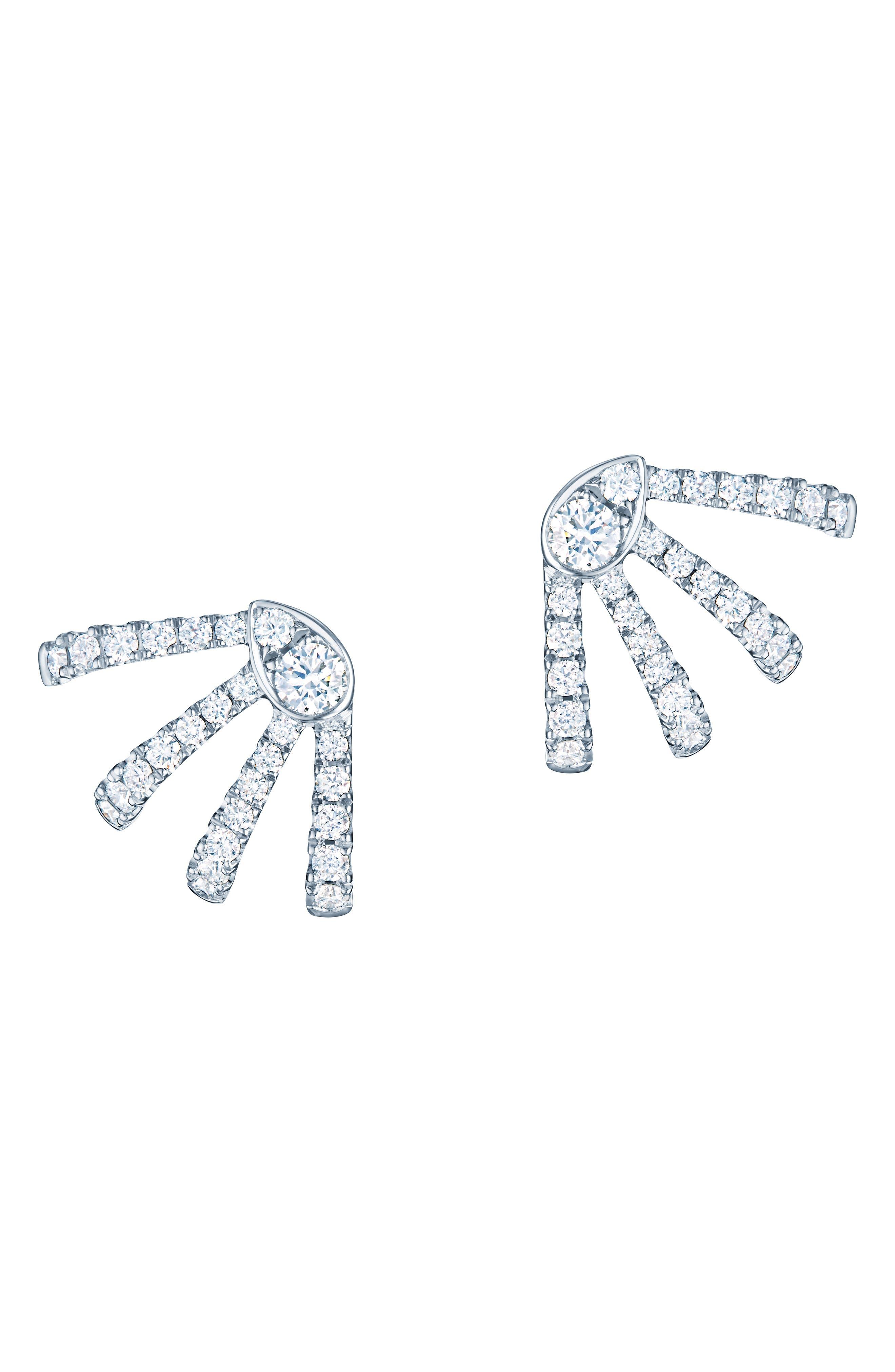 KWIAT Small Vine Diamond Huggie Earrings in White Gold