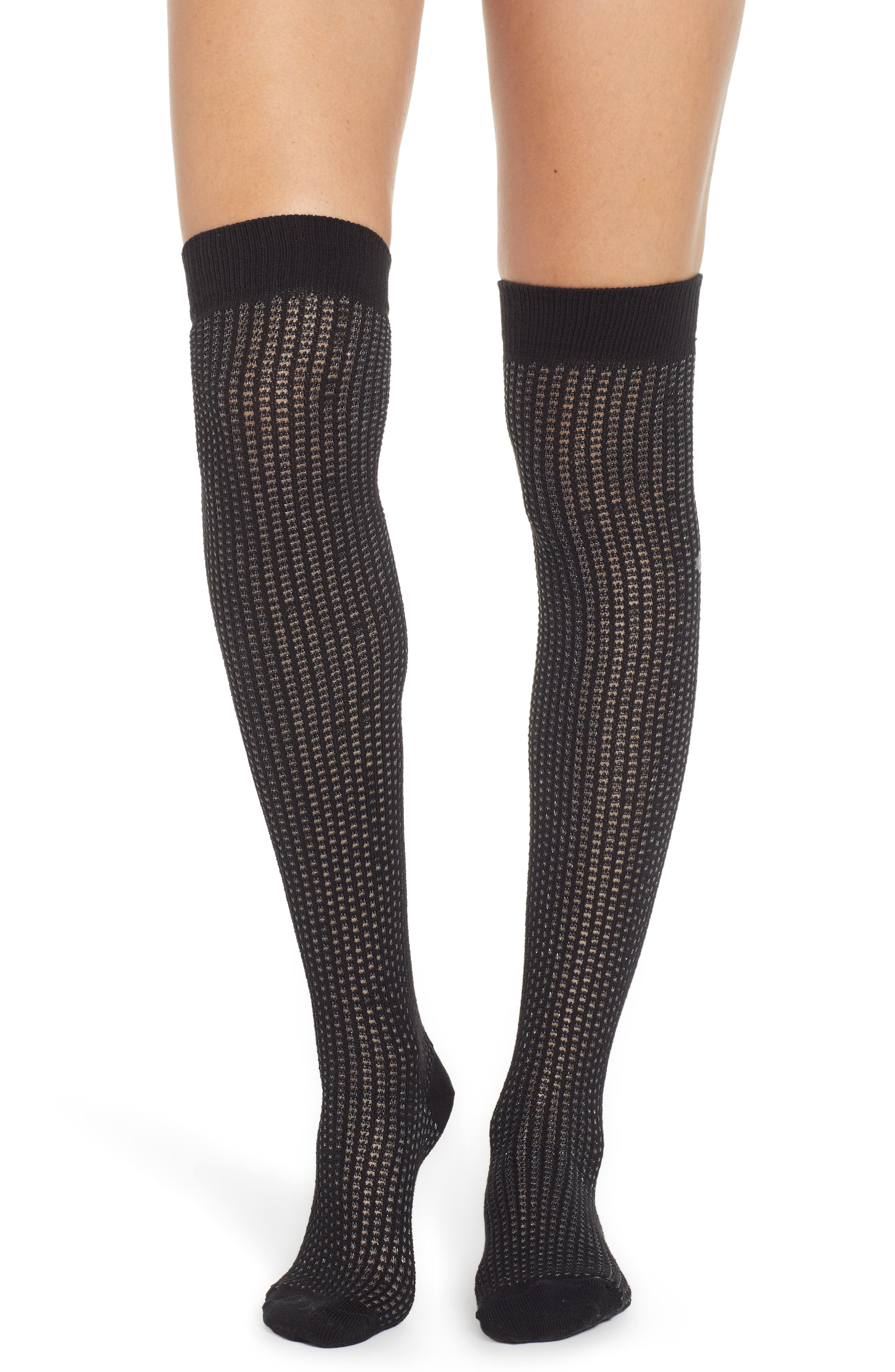 Chunky Knit Over the Knee Socks,                             Main thumbnail 1, color,                             BLACK