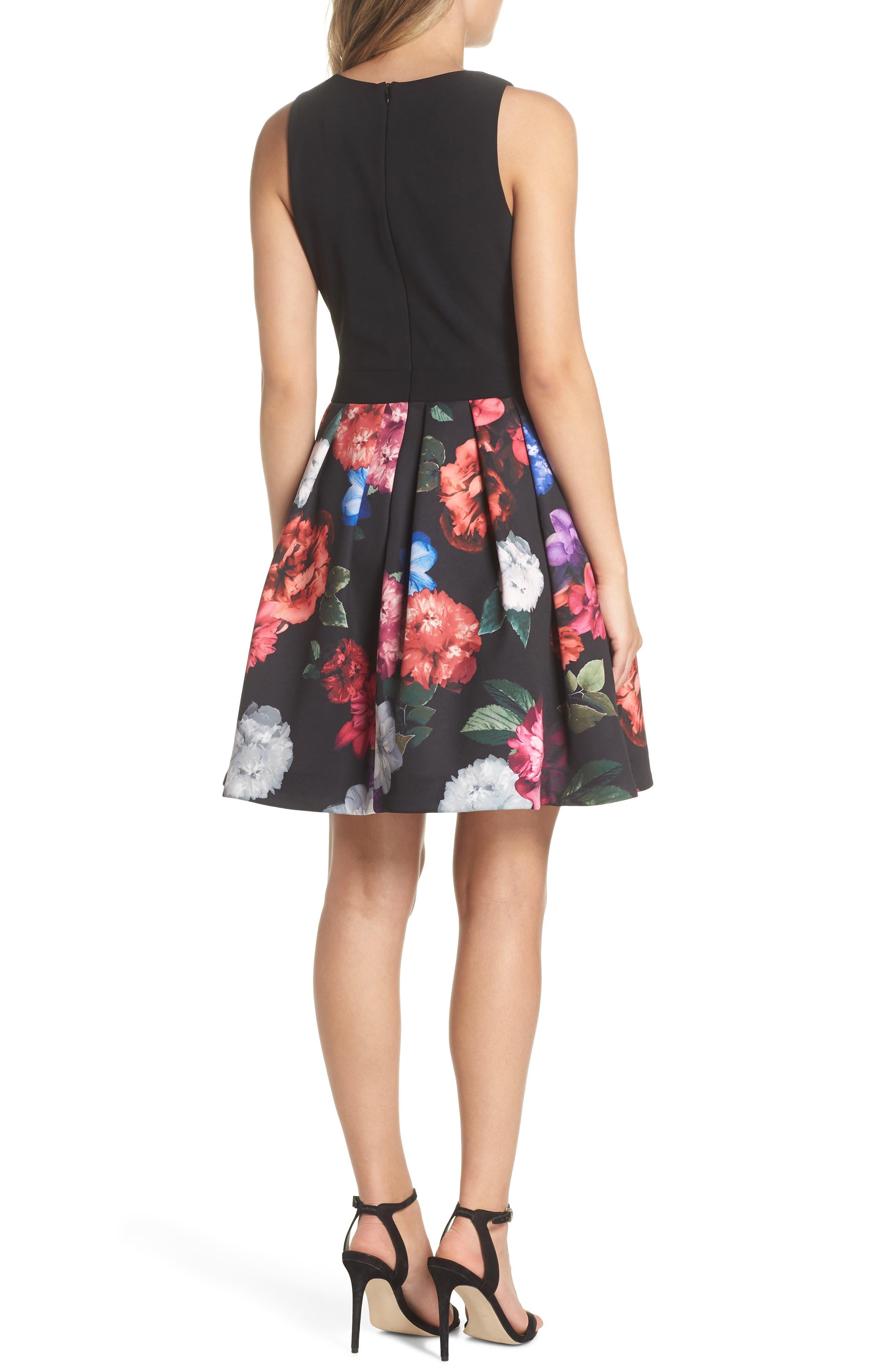 Floral Print Fit & Flare Dress,                             Alternate thumbnail 2, color,                             BLACK/ PURPLE