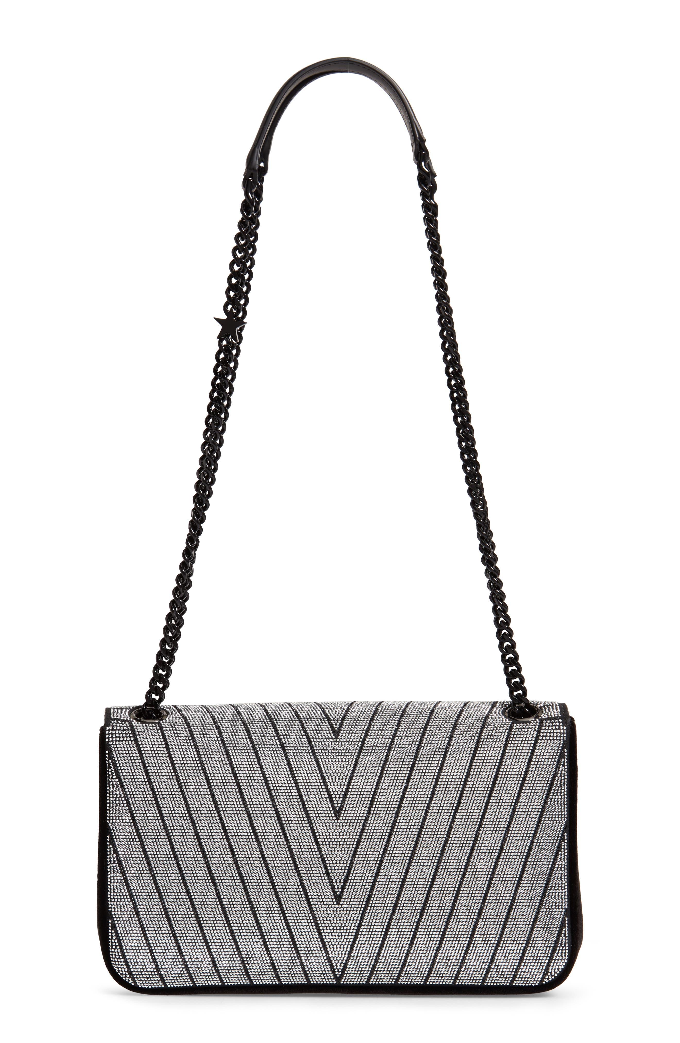 Medium Crystal Star Shoulder Bag,                             Alternate thumbnail 3, color,                             BLACK
