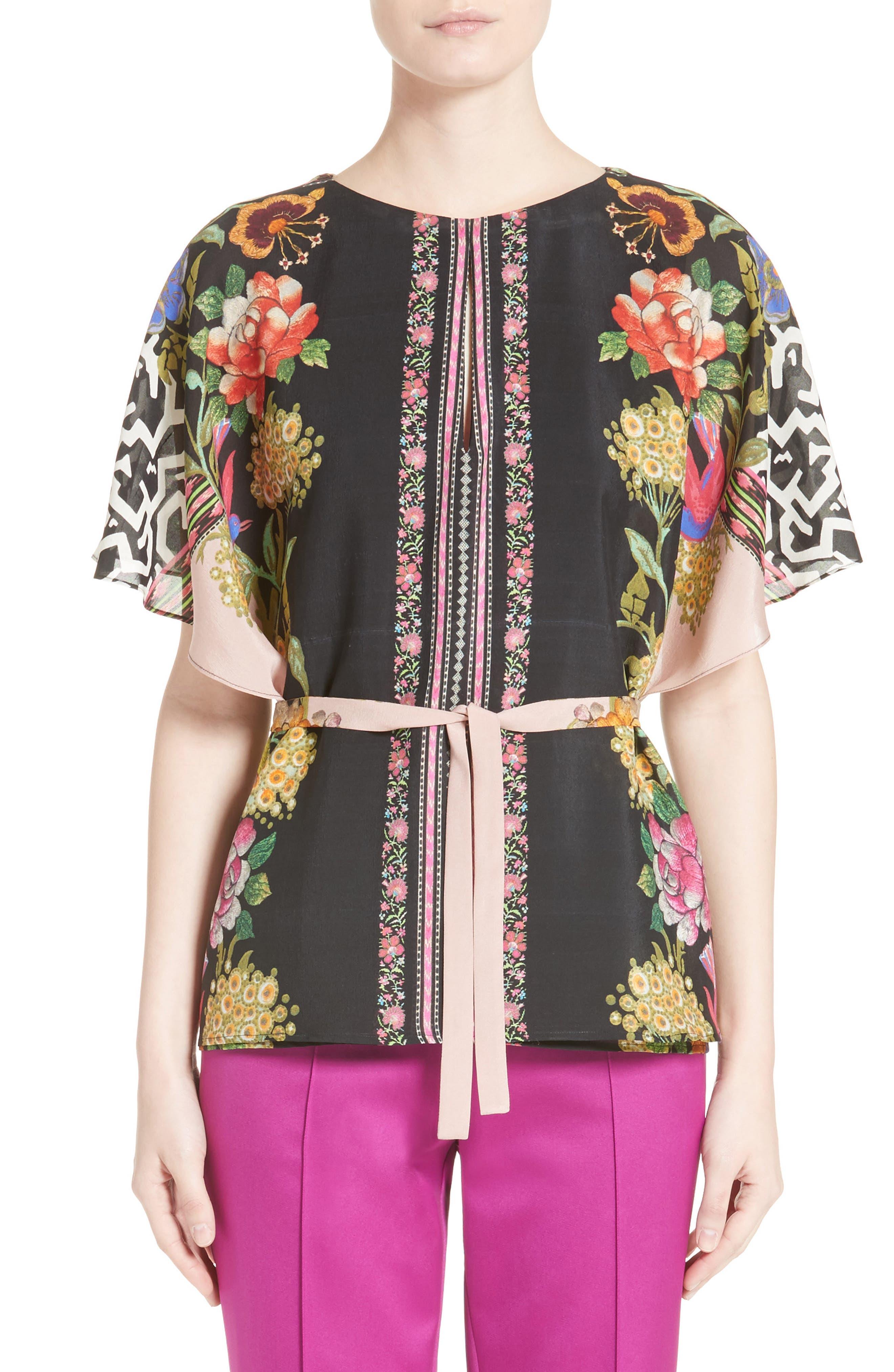 Floral & Maze Print Silk Blouse,                             Main thumbnail 1, color,                             650