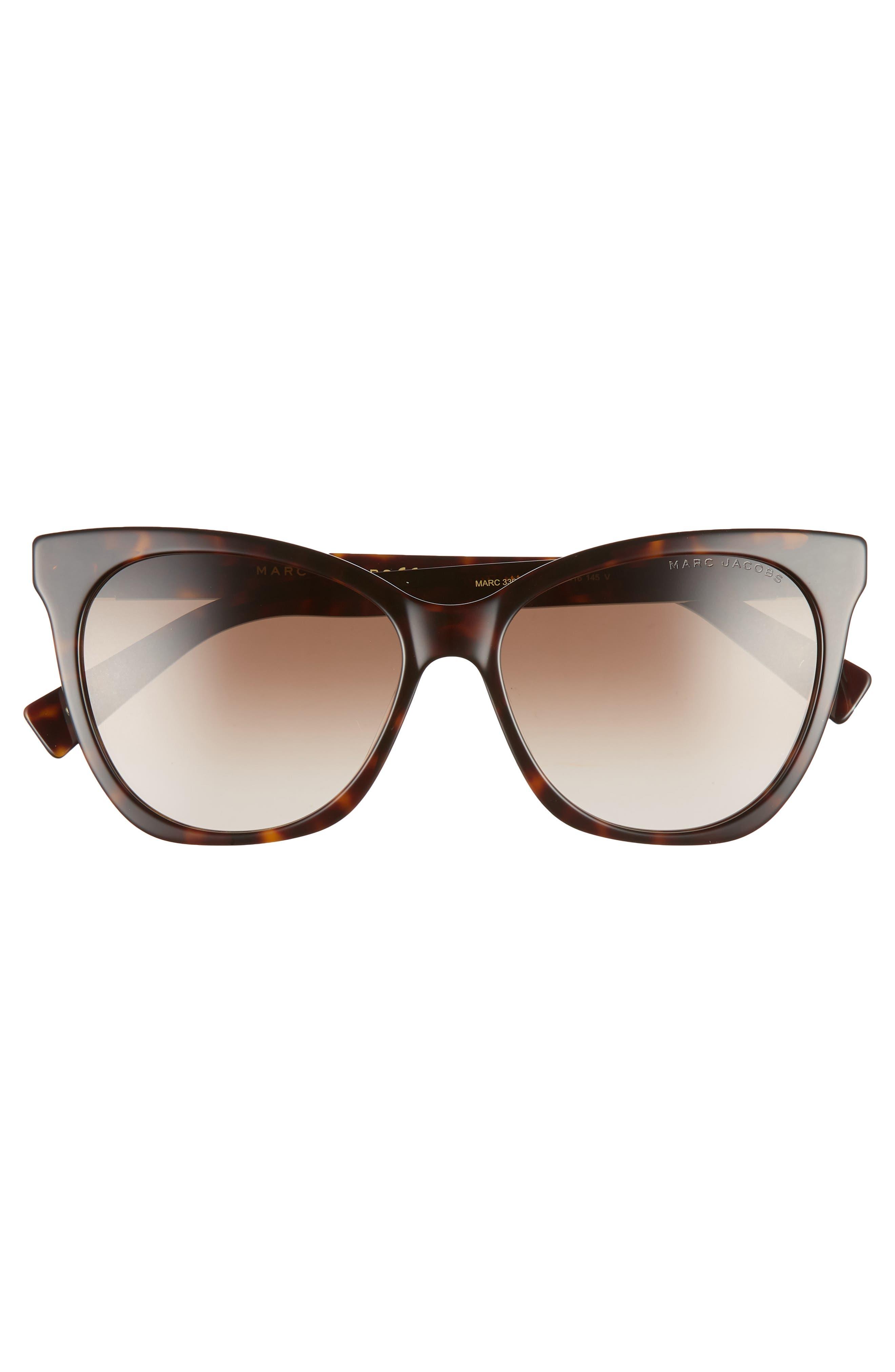 56mm Cat Eye Sunglasses,                             Alternate thumbnail 3, color,                             DARK HAVANA