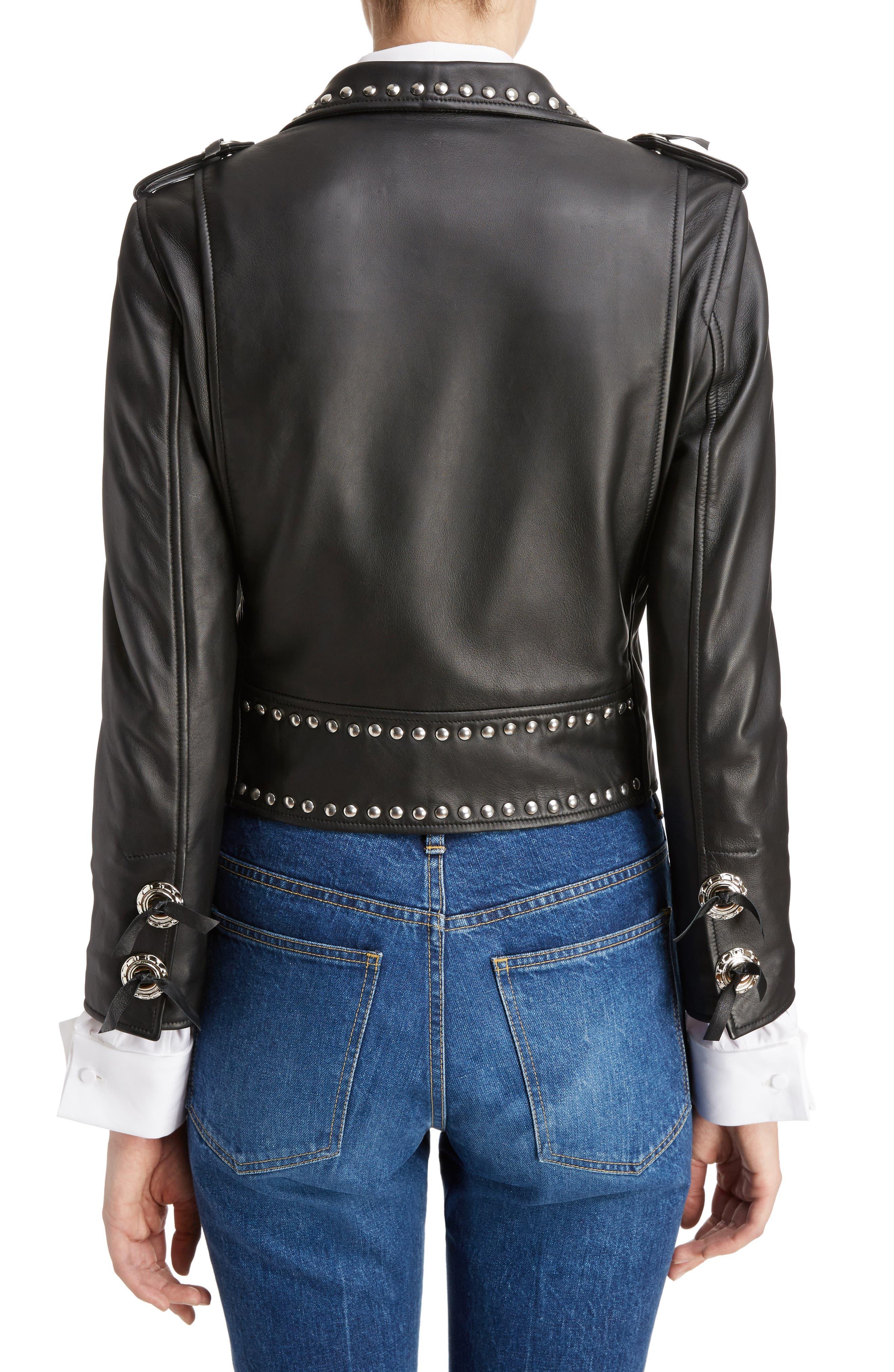 Studded Leather Moto Jacket,                             Alternate thumbnail 2, color,                             001