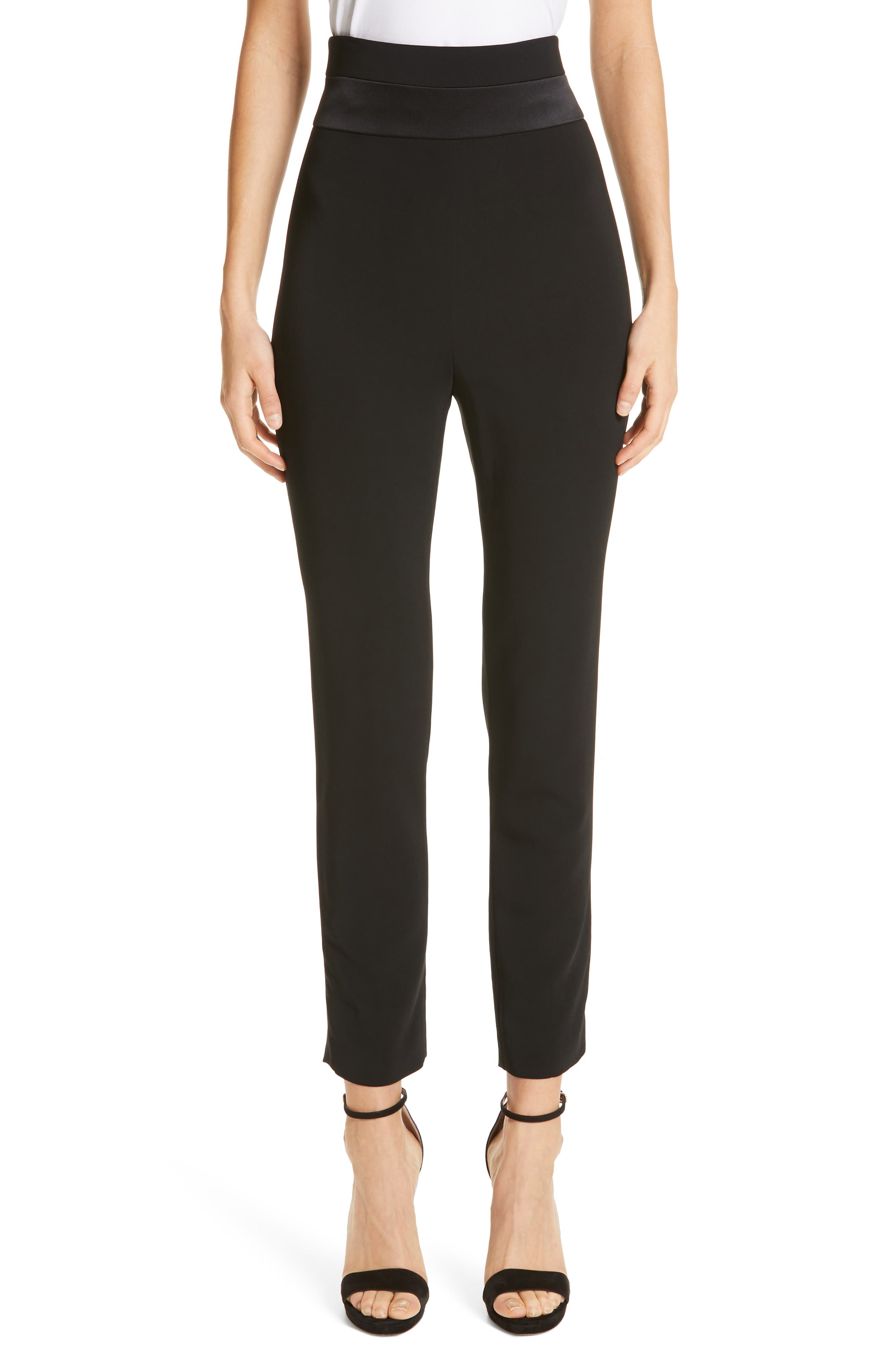 CUSHNIE,                             High Waist Crop Slim Pants,                             Main thumbnail 1, color,                             BLACK
