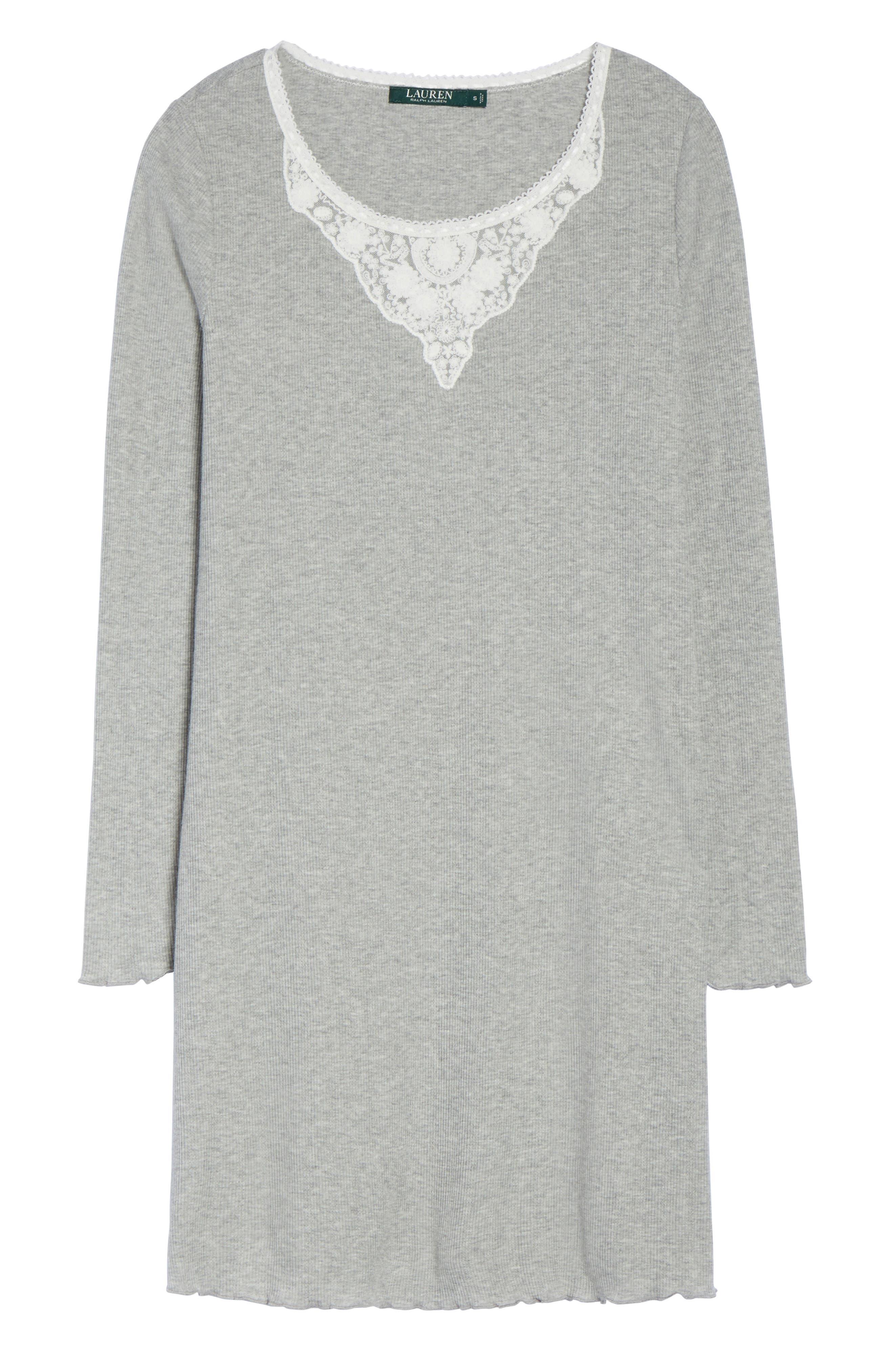 Lace Neck Sleep Shirt,                             Alternate thumbnail 6, color,                             022