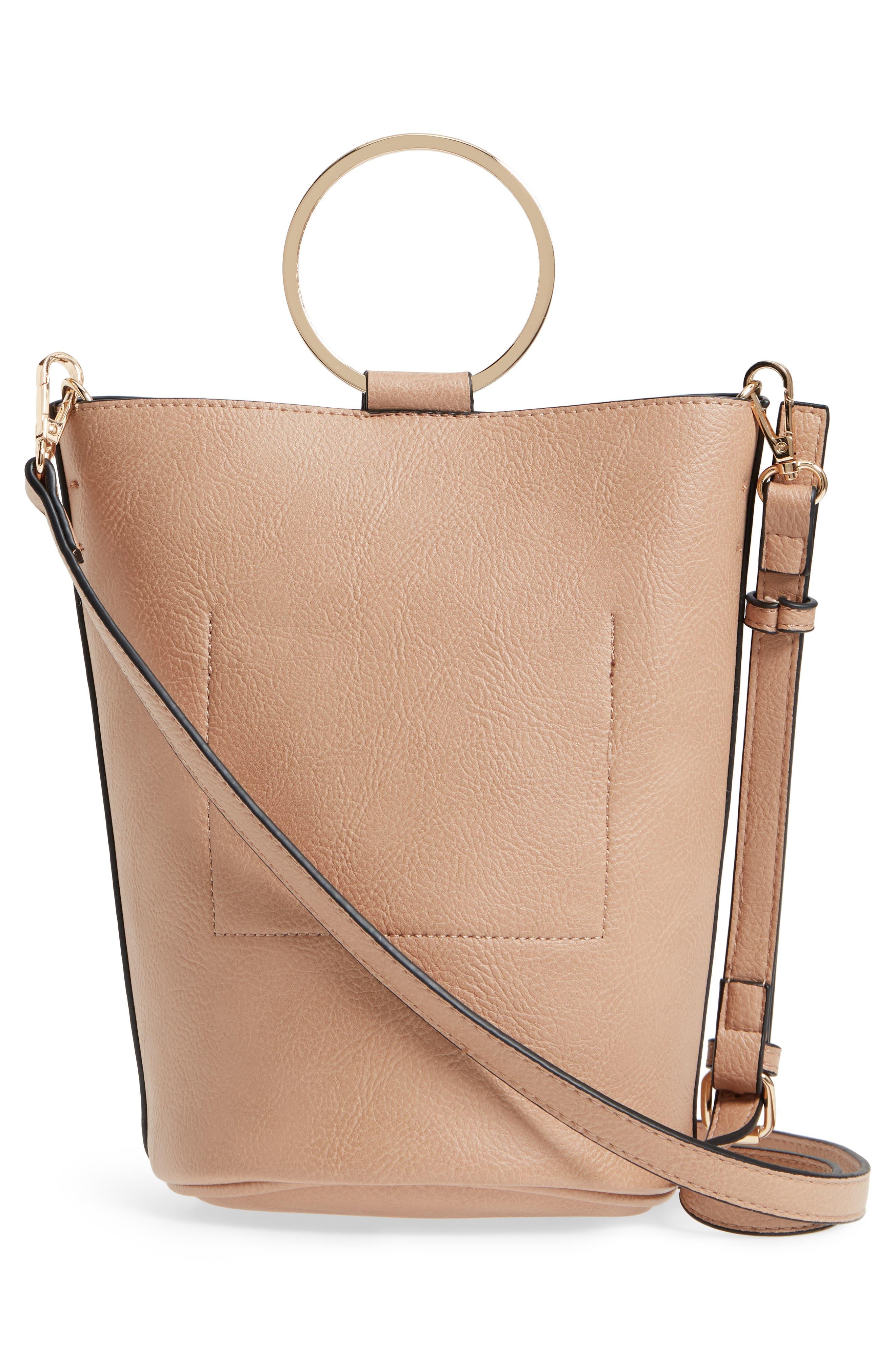 Mali + Lili Ilia Vegan Leather Ring Handle Bucket Bag,                             Alternate thumbnail 8, color,