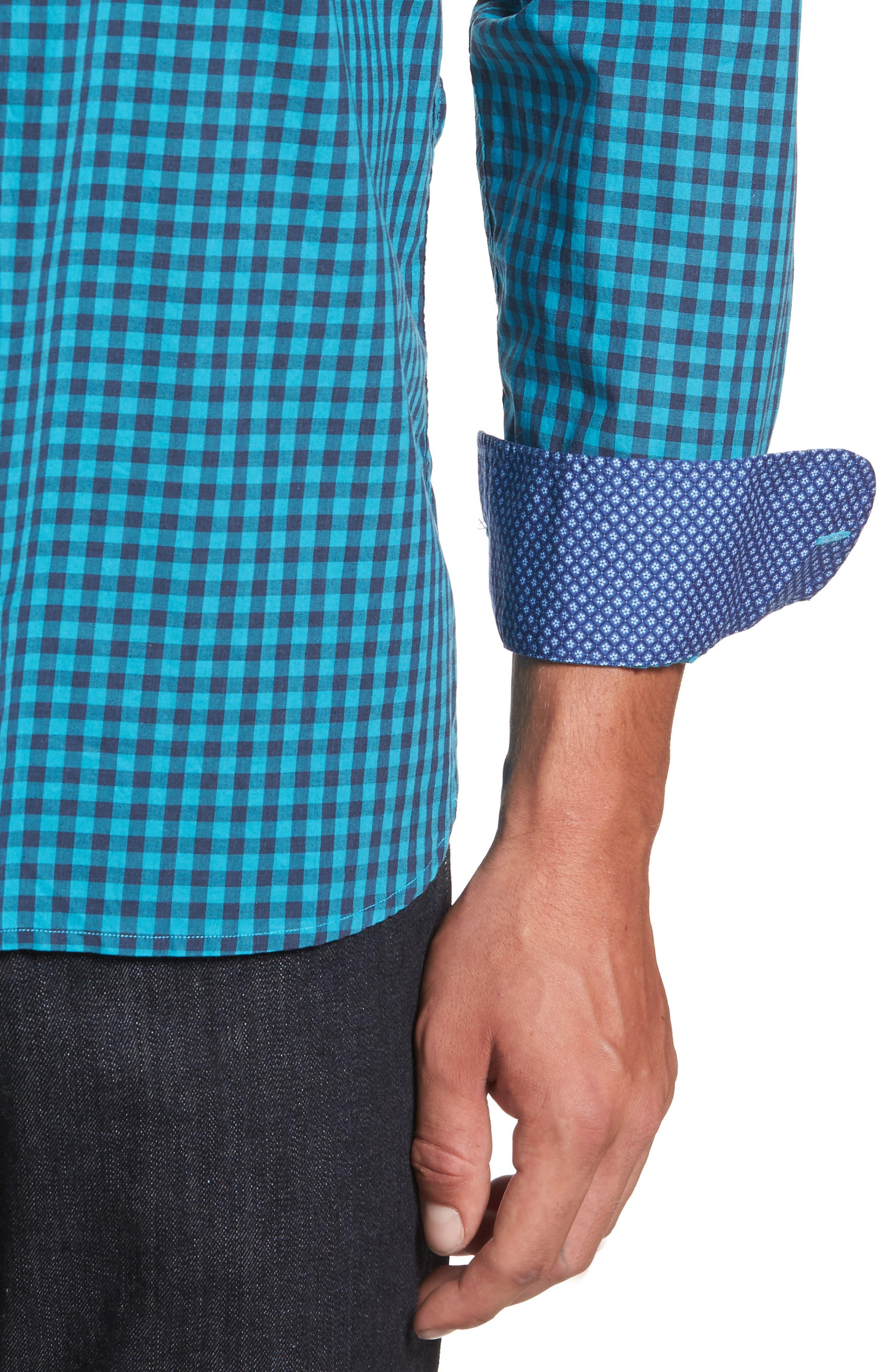 Mazagan Check Sport Shirt,                             Alternate thumbnail 4, color,                             401