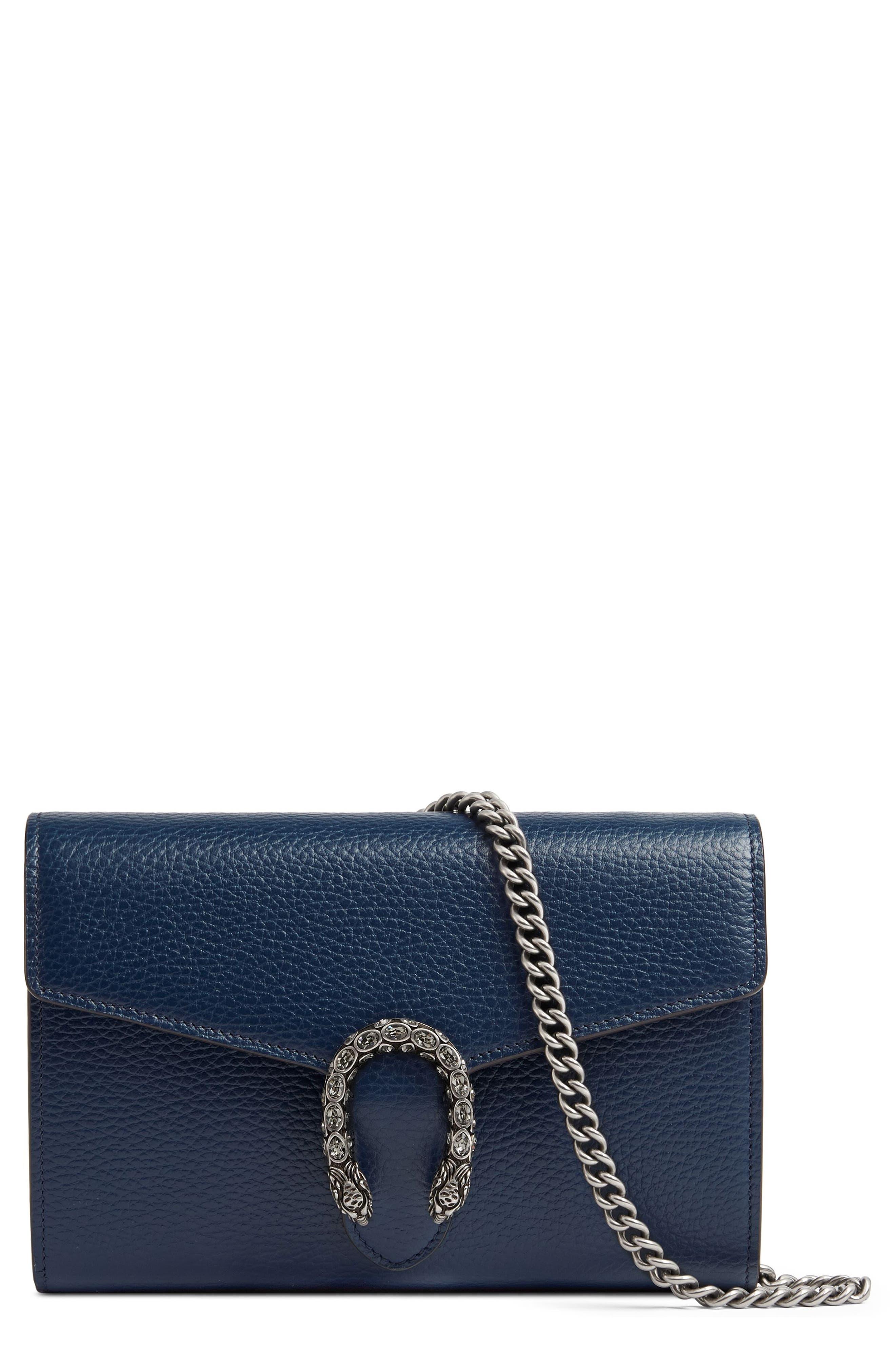 Dionysus Leather Wallet on a Chain,                         Main,                         color, BLU AGATA/ BLACK DIAMOND