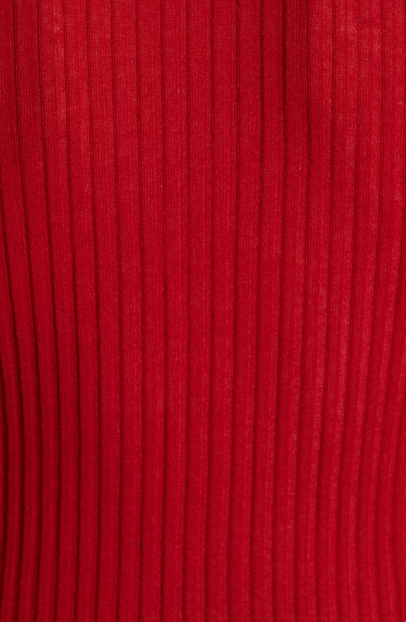 Button Detail Ribbed Sweater,                             Alternate thumbnail 5, color,                             ROUGE