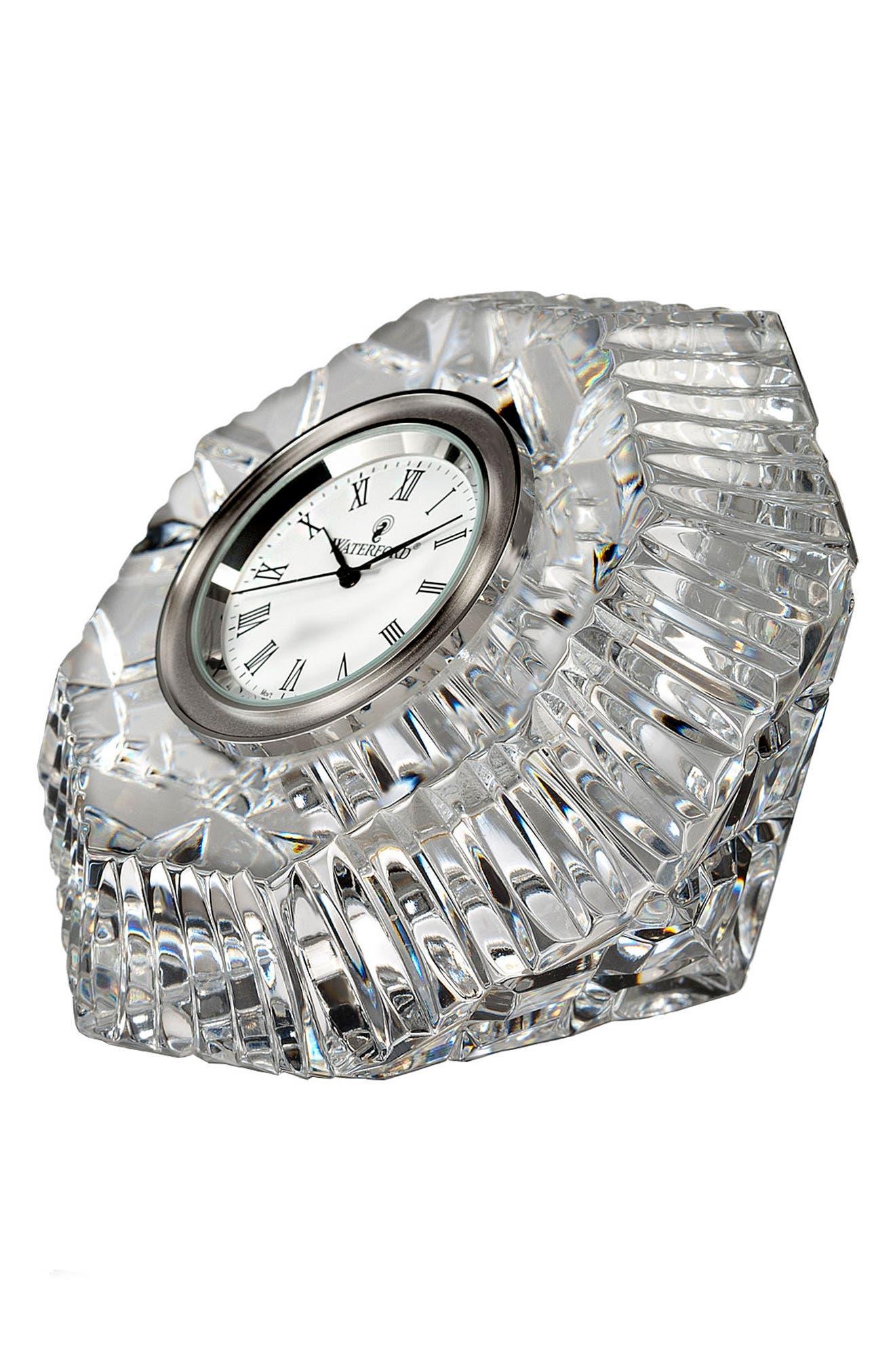 WATERFORD Lismore Diamond Clock, Main, color, CRYSTAL