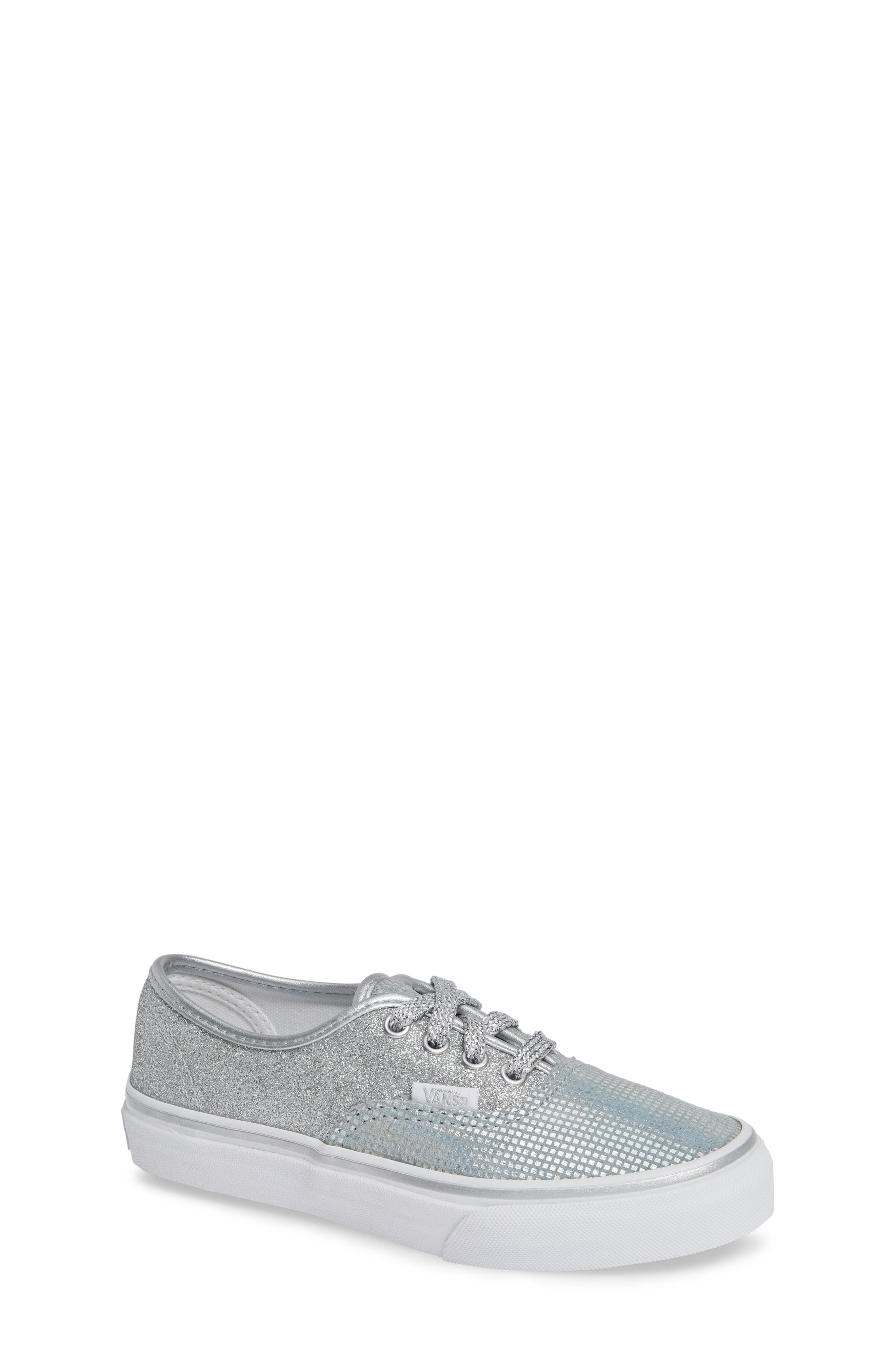 Authentic Glitter Sneaker,                             Main thumbnail 1, color,                             SILVER TEXTILE