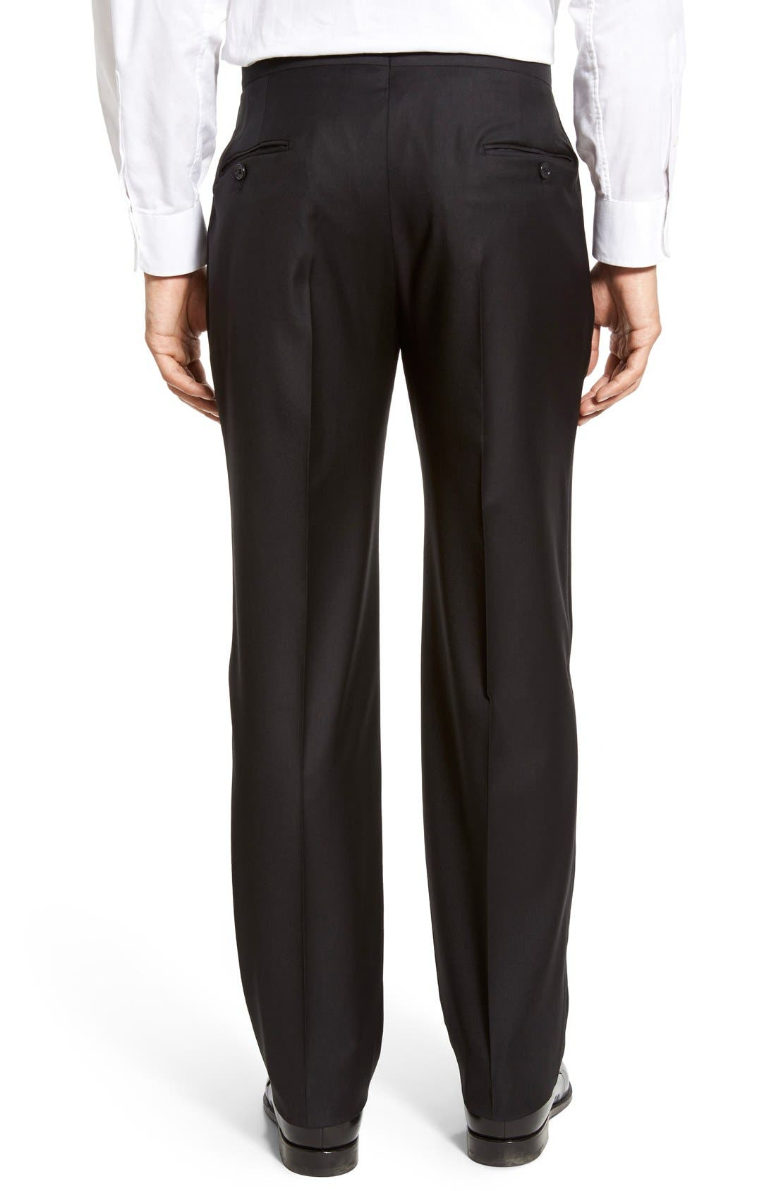 Classic B Fit Flat Front Wool Formal Trousers,                             Alternate thumbnail 2, color,                             001