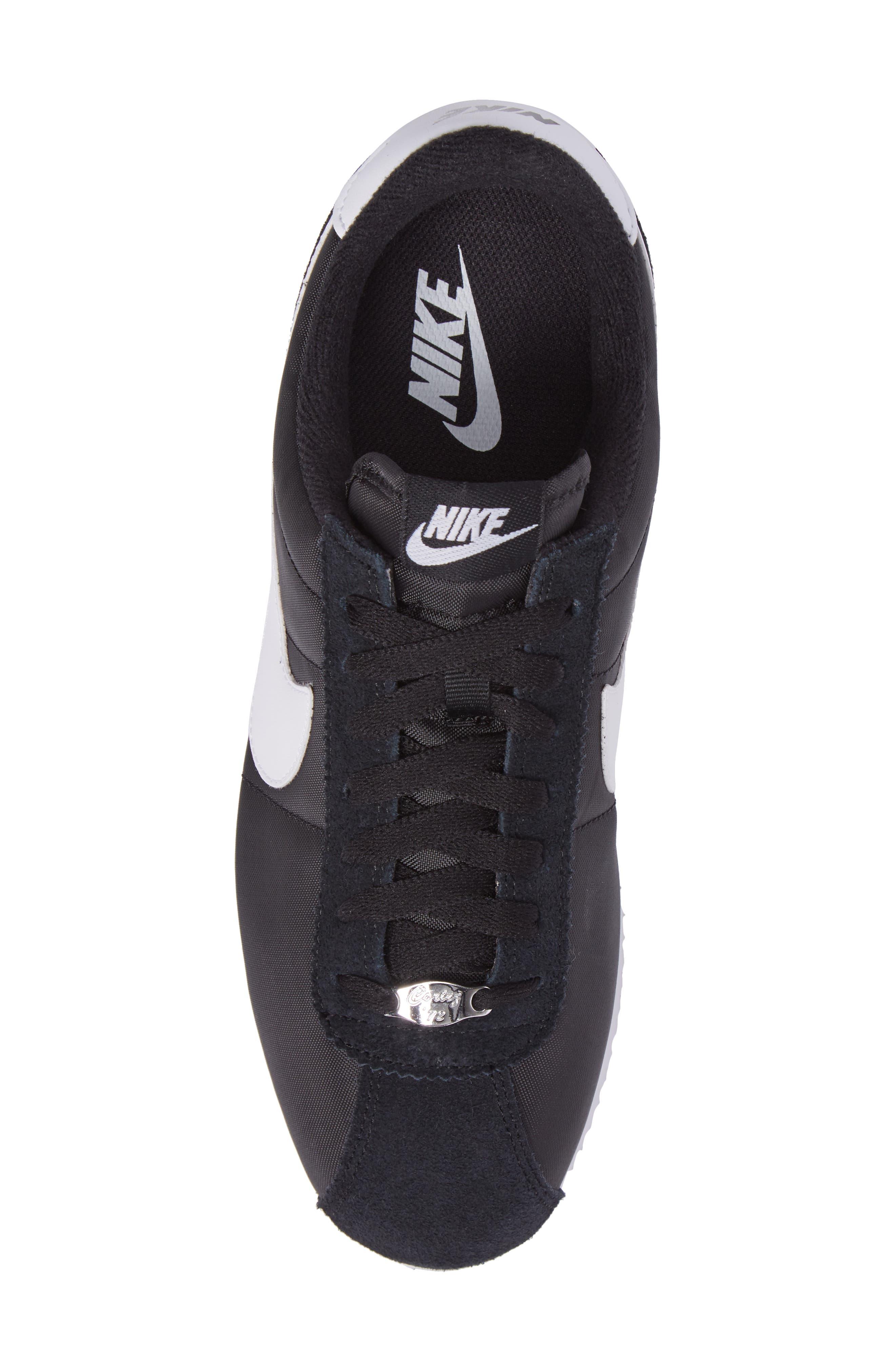 Cortez Basic Nylon Sneaker,                             Alternate thumbnail 5, color,                             BLACK/WHITE/METALLIC SILVER