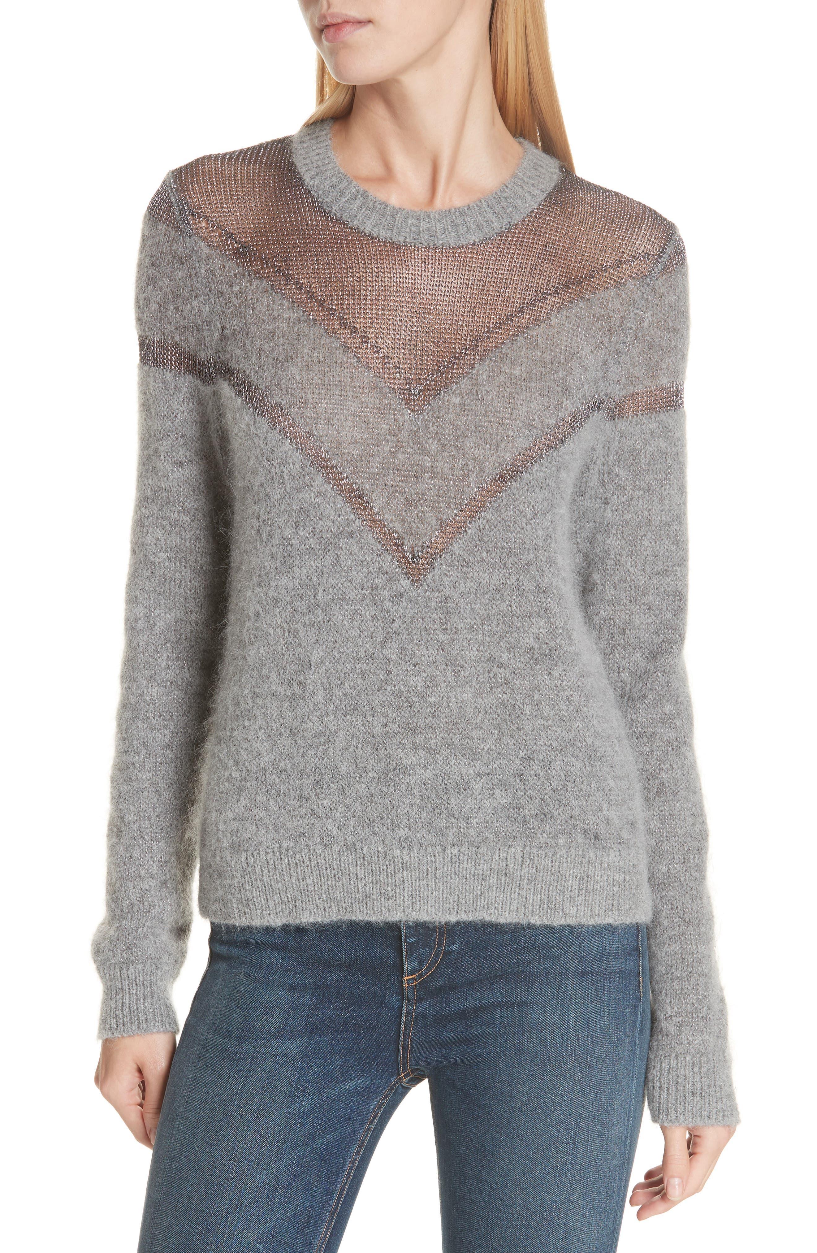 Rag & Bone Sheer Chevron Sweater, Grey