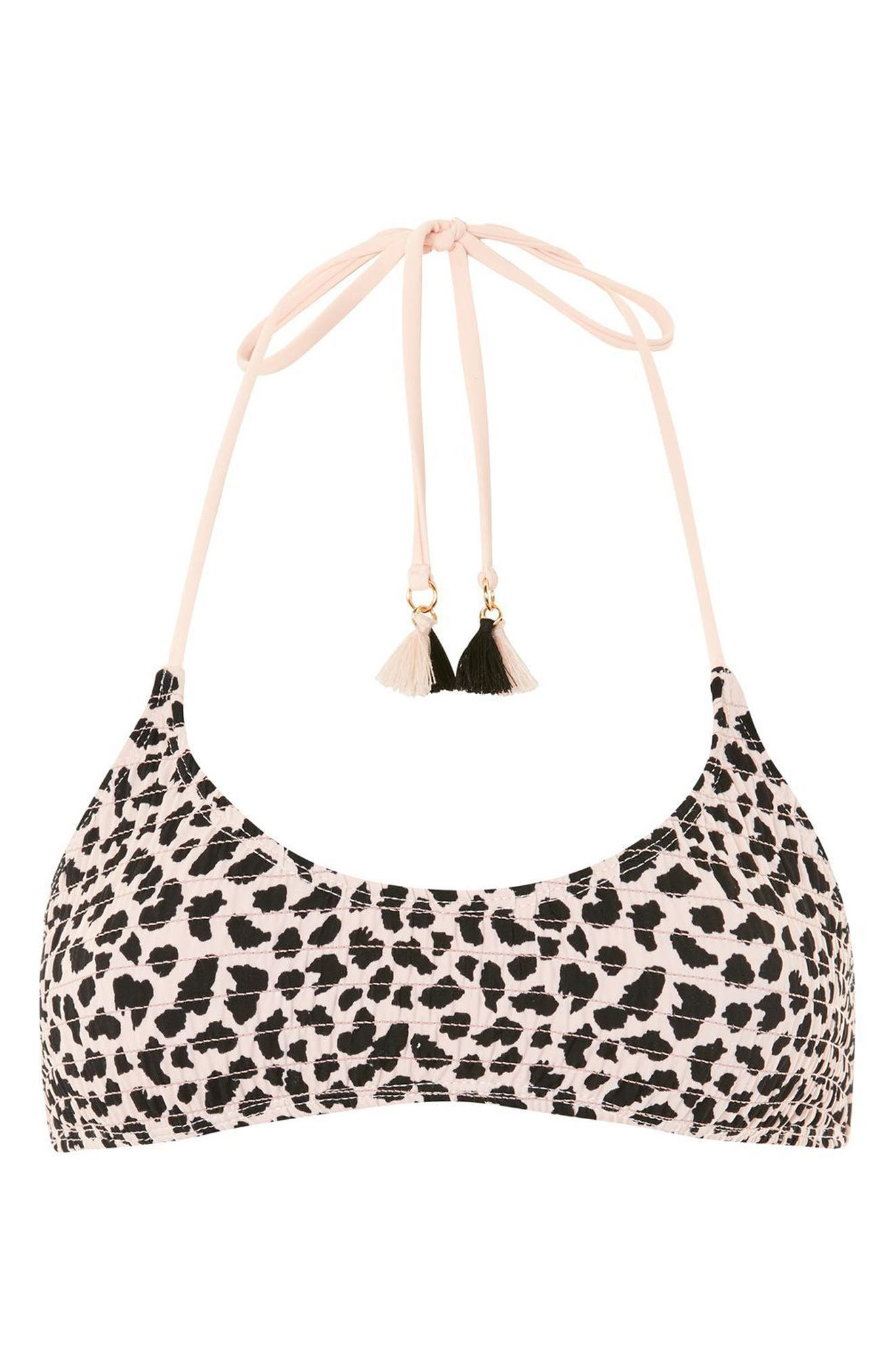 Leopard Shirred Bikini Top,                             Alternate thumbnail 3, color,                             680