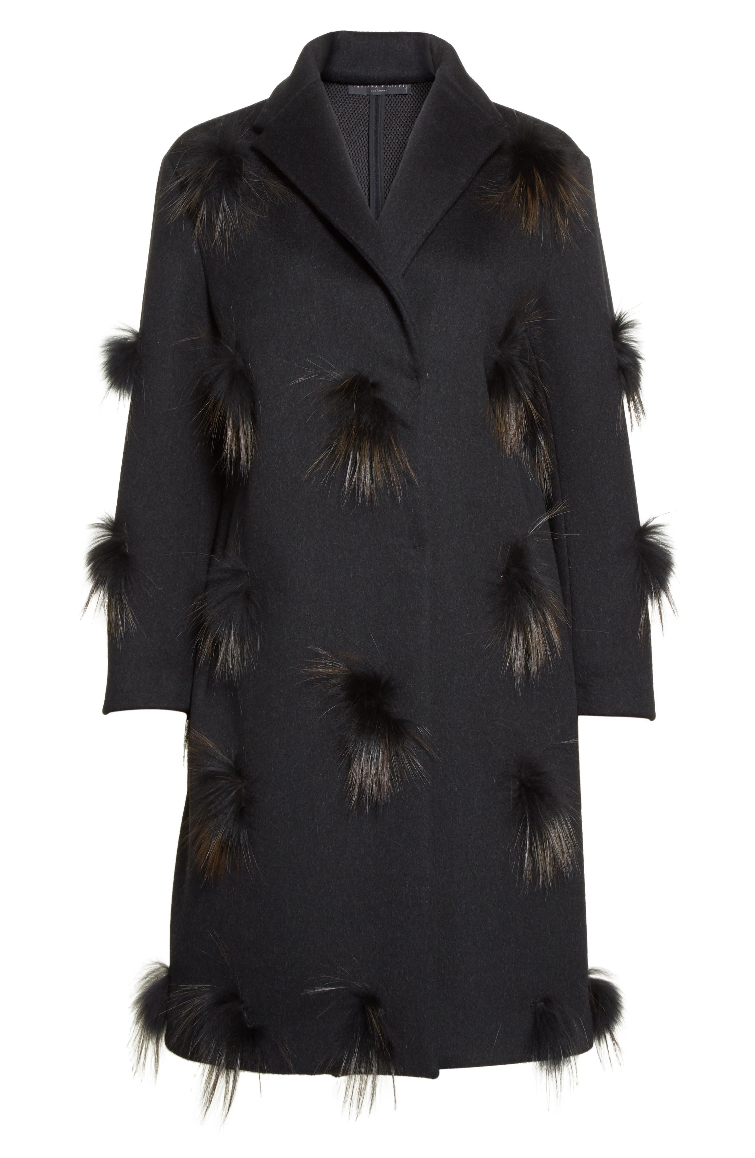 Genuine Fox Fur Trim Wool Blend Coat,                             Alternate thumbnail 5, color,                             001