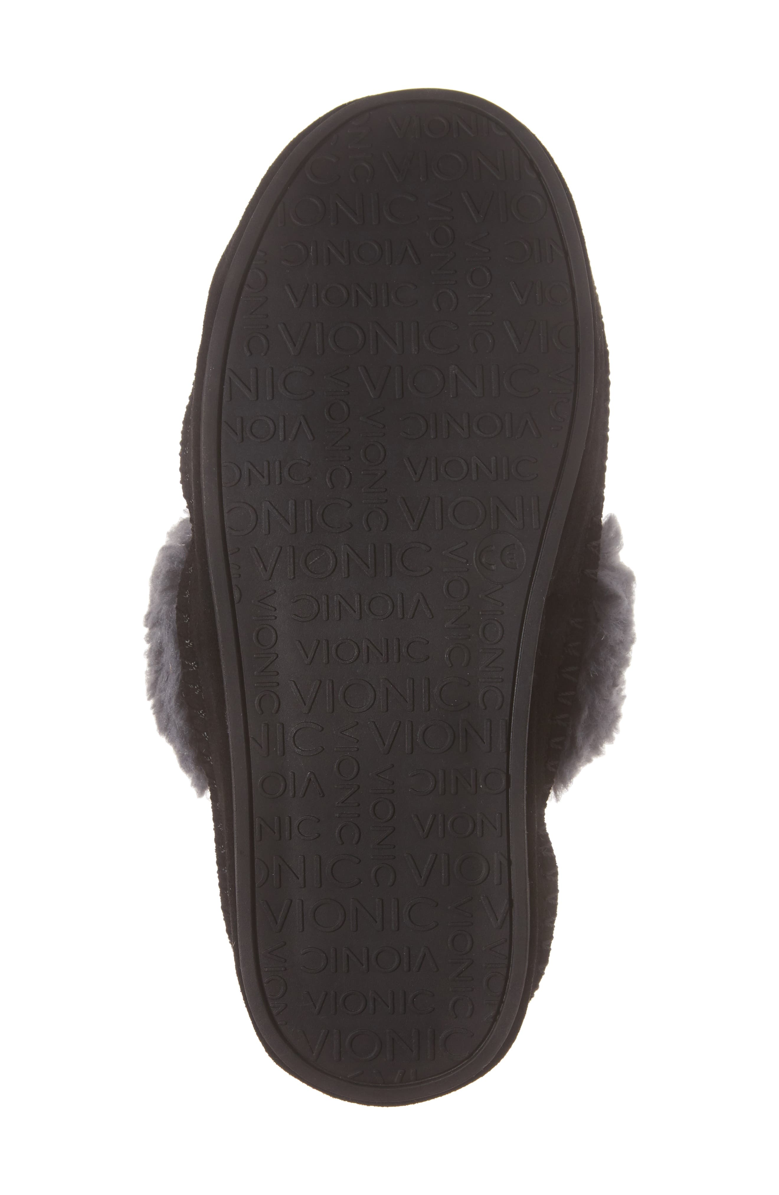 VIONIC,                             Marley Faux Fur Slipper,                             Alternate thumbnail 6, color,                             BLACK SUEDE