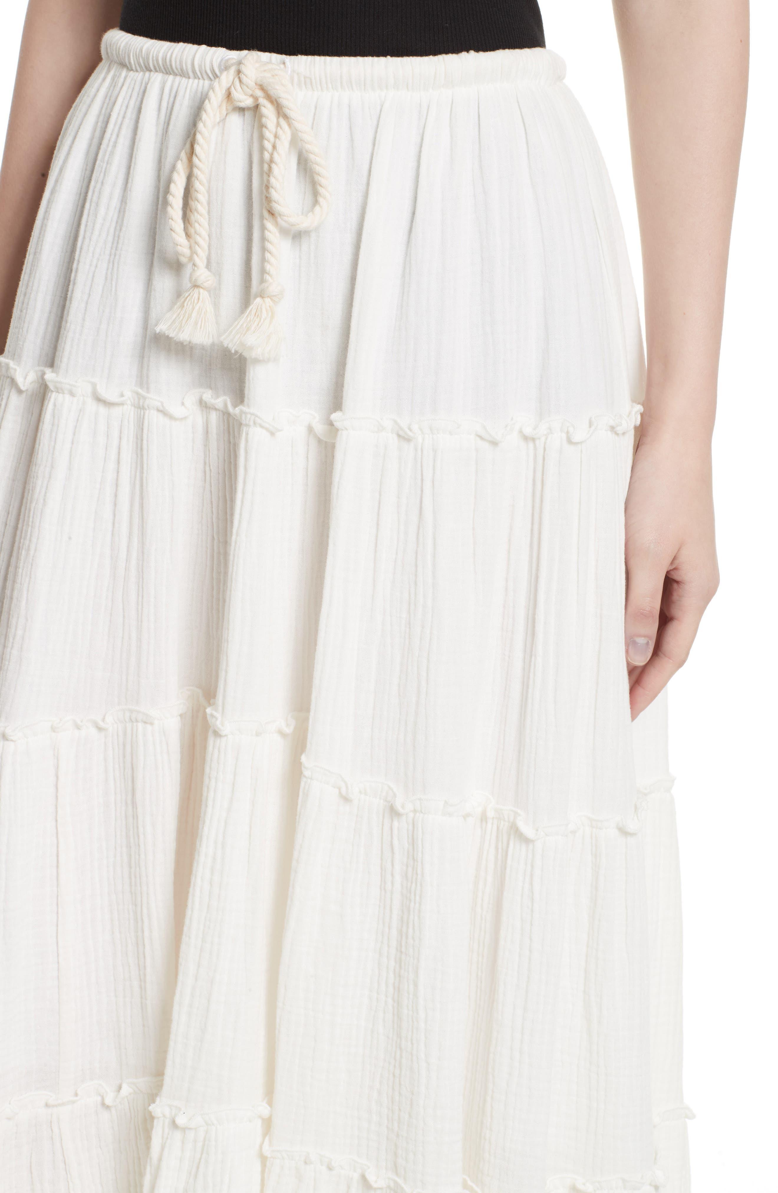 Crinkled Cotton Midi Skirt,                             Alternate thumbnail 4, color,                             101
