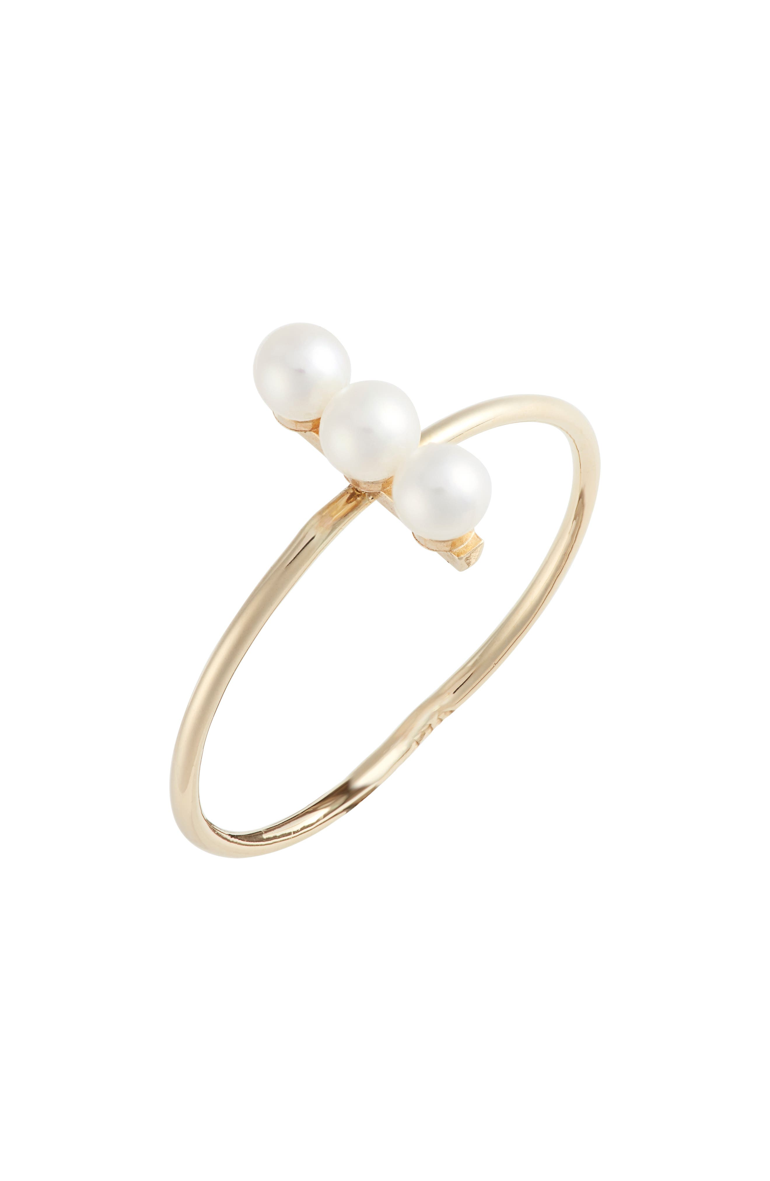 Triple Cultured Pearl Bar Ring,                         Main,                         color, YELLOW GOLD/ WHITE PEARL