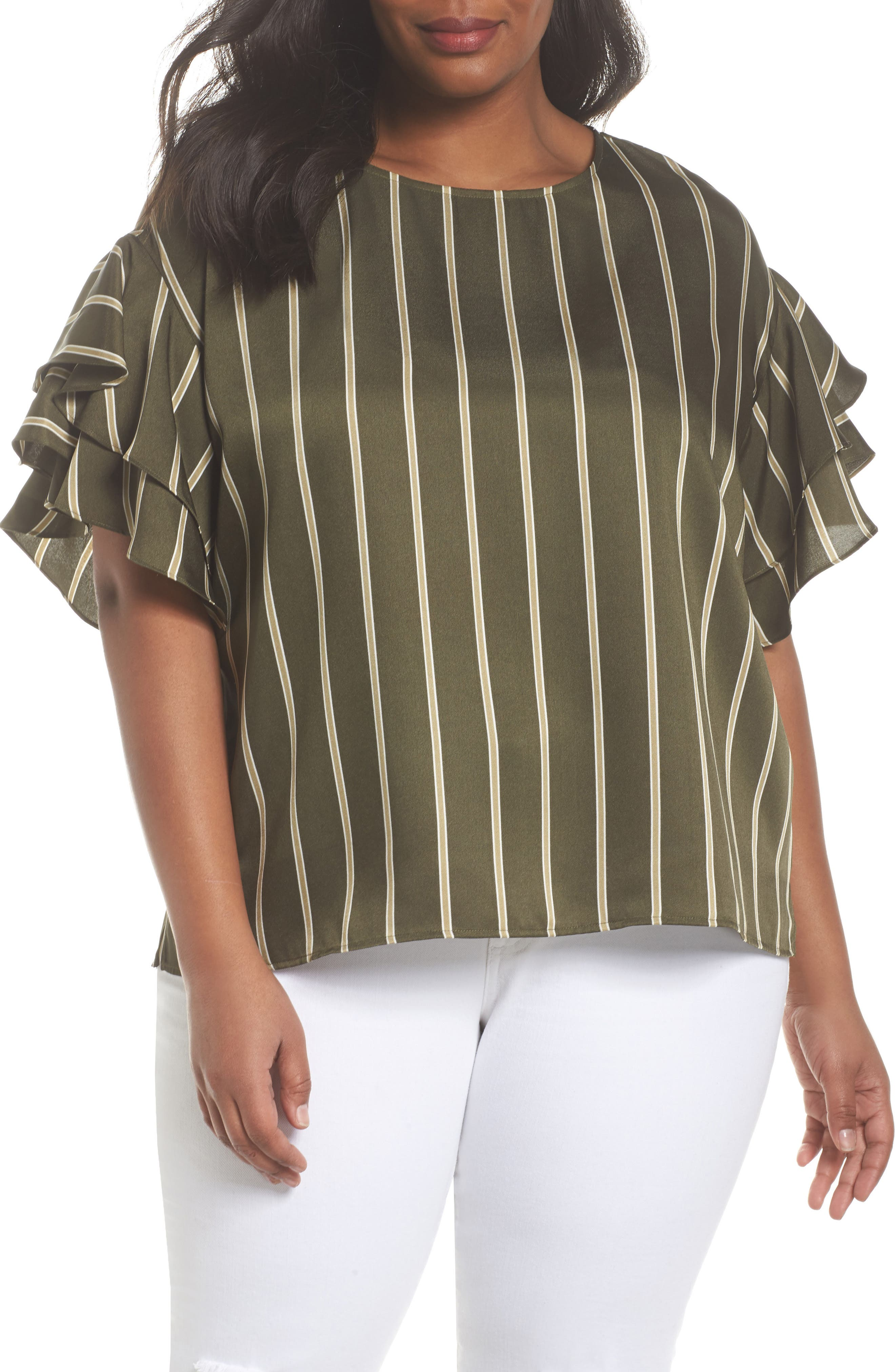 Tiered Ruffle Sleeve Stripe Top,                             Main thumbnail 1, color,                             360