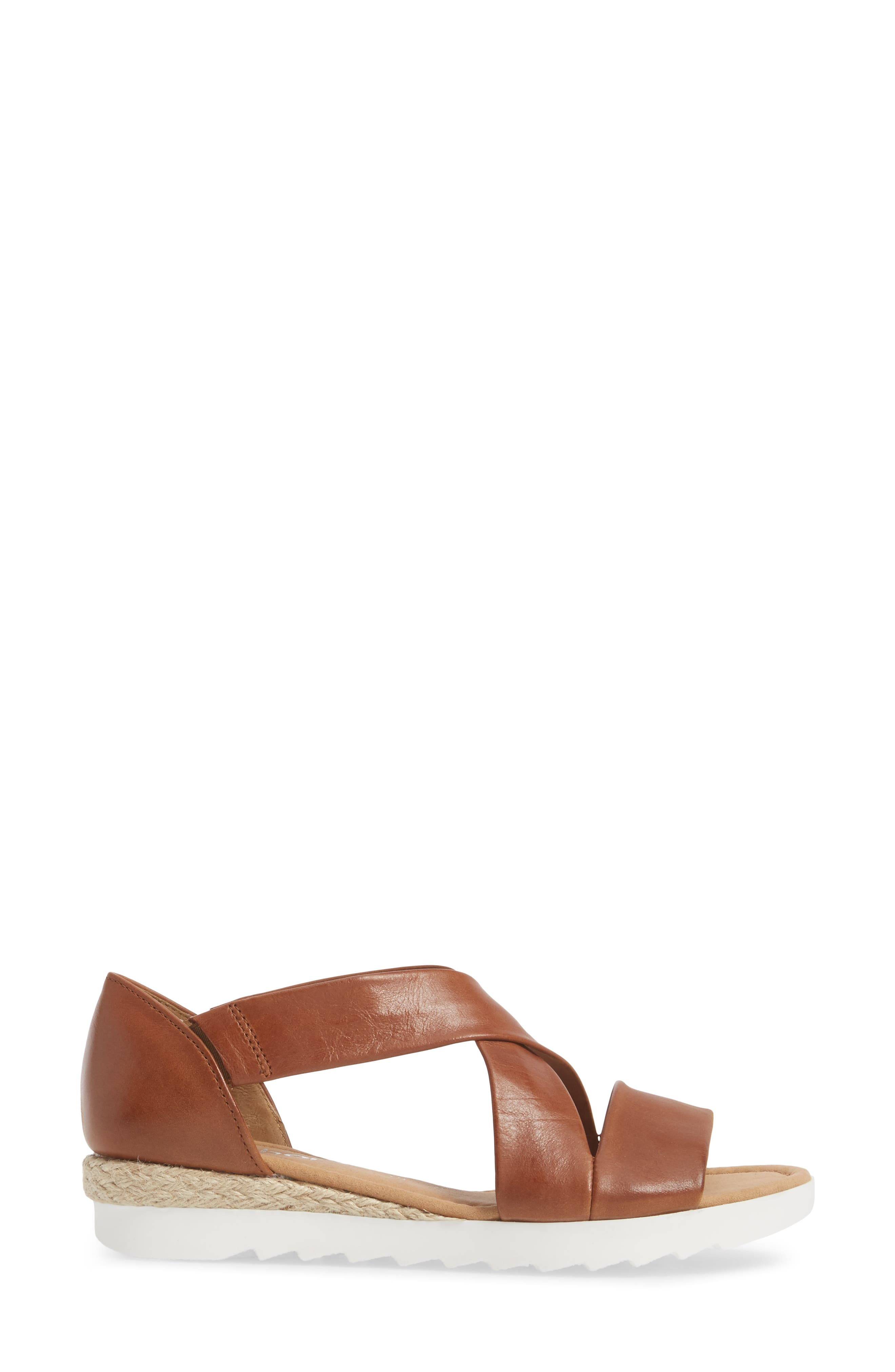 Cross Strap Sandal,                             Alternate thumbnail 3, color,                             BROWN LEATHER