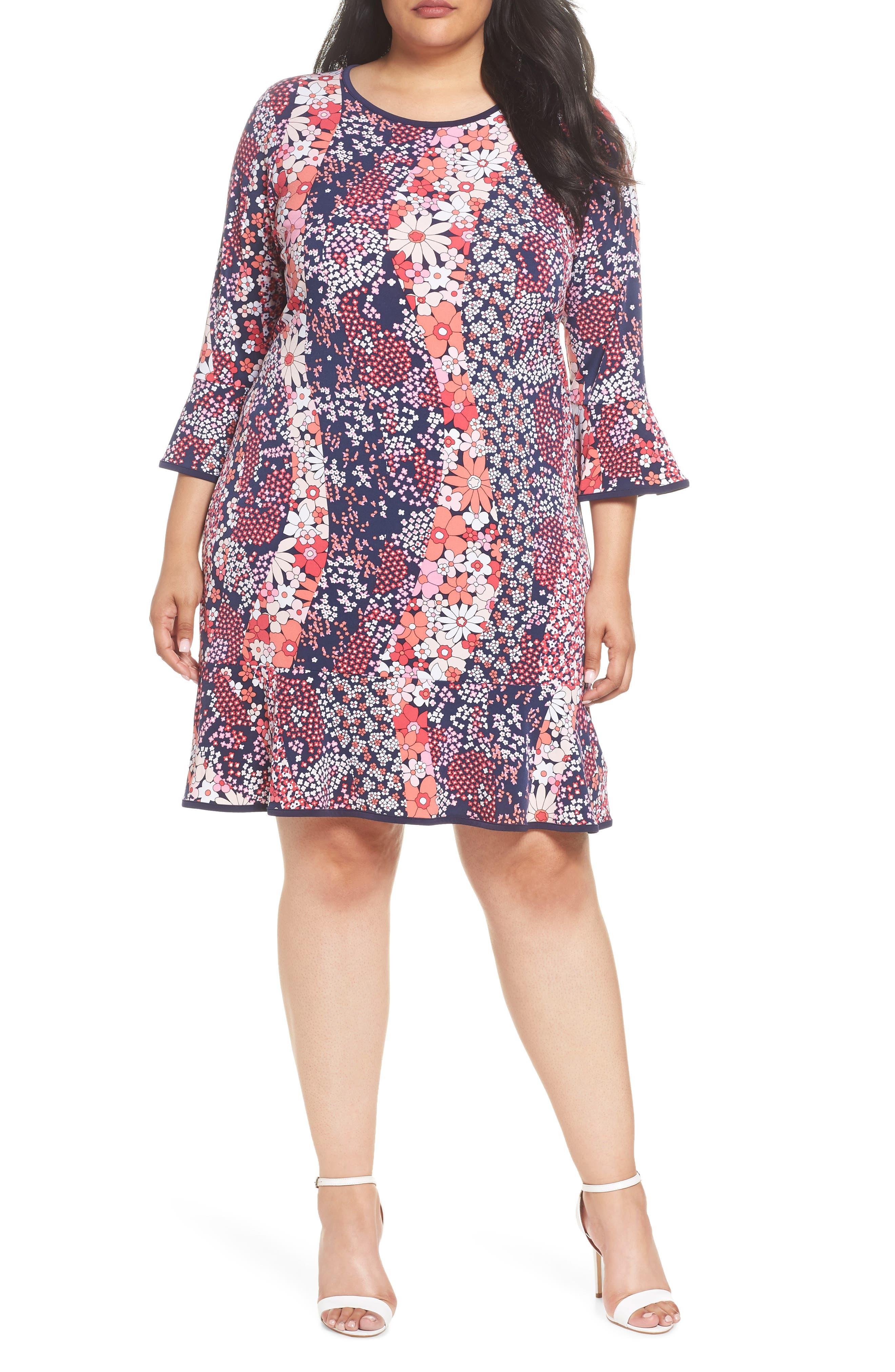 MICHAEL MICHAEL KORS,                             Patchwork Floral Bell Sleeve Shift Dress,                             Main thumbnail 1, color,                             679