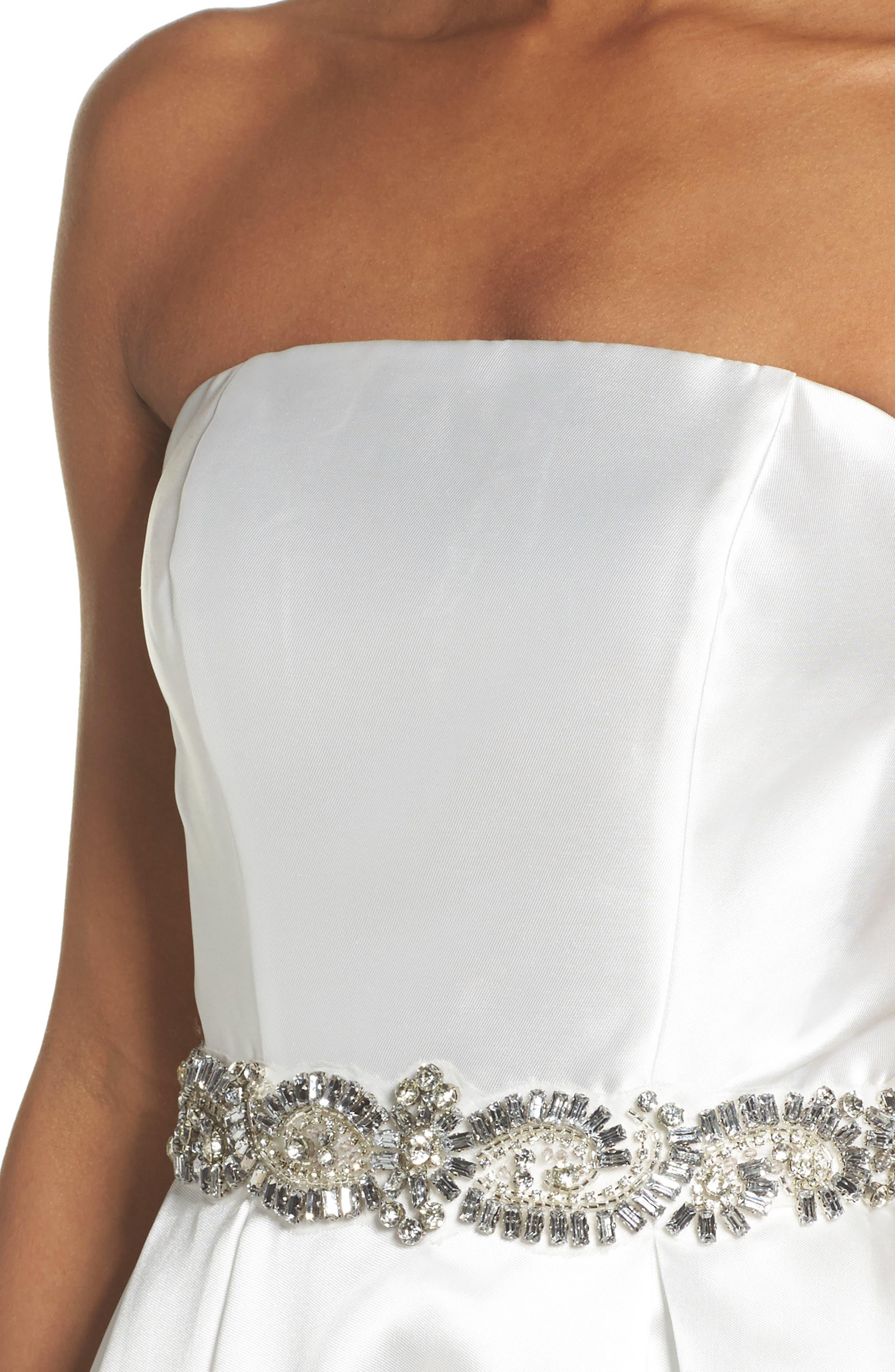 Embellished Strapless Ballgown,                             Alternate thumbnail 8, color,