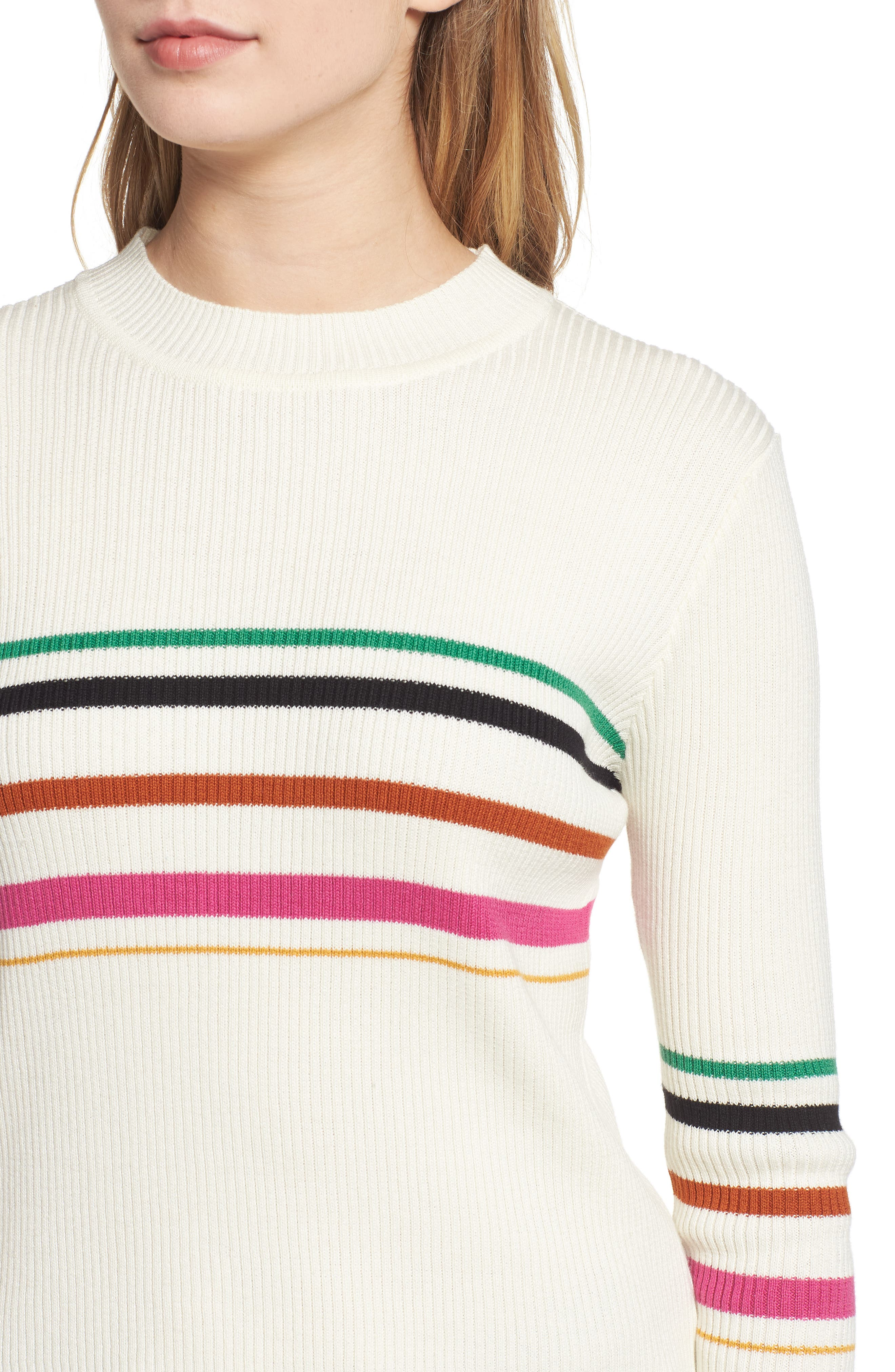 Lettuce Edge Multi Stripe Sweater,                             Alternate thumbnail 4, color,                             IVORY RILEY STRIPE