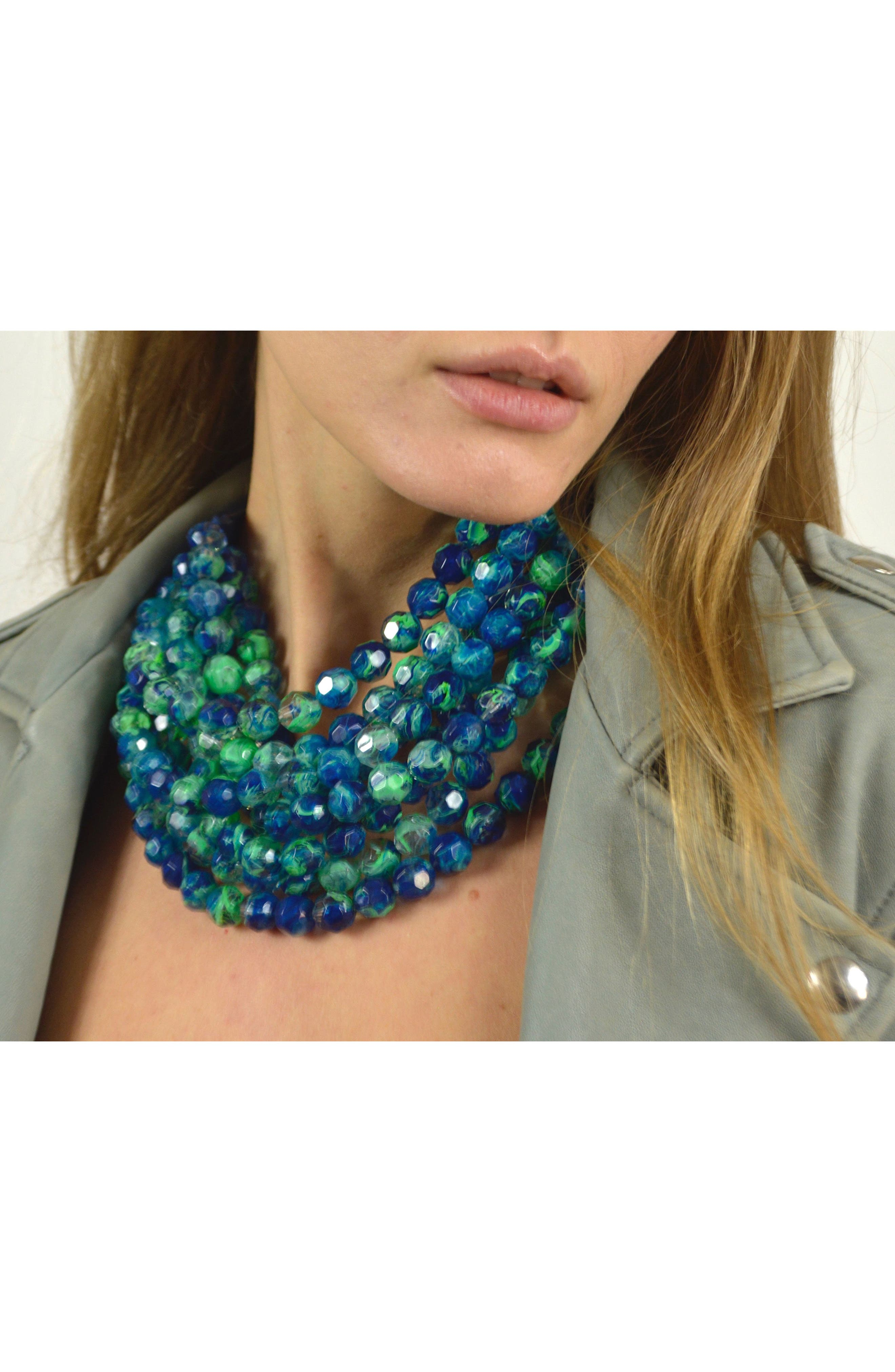 Bella Beaded Collar Necklace,                             Alternate thumbnail 4, color,                             TRANSPARENT MARBLE SEA GREEN
