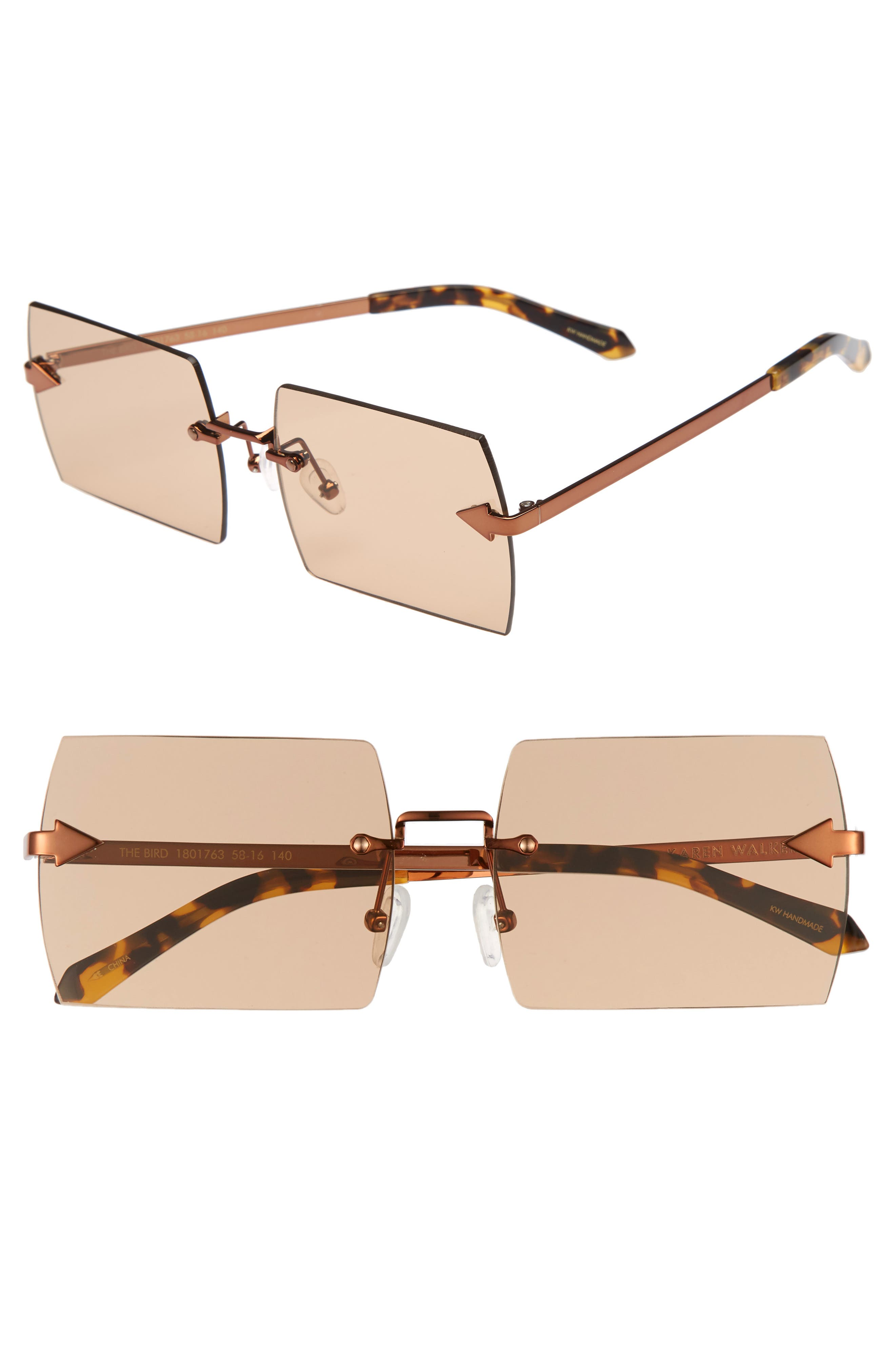 The Bird 58mm Rimless Sunglasses,                         Main,                         color, LIGHT BROWN