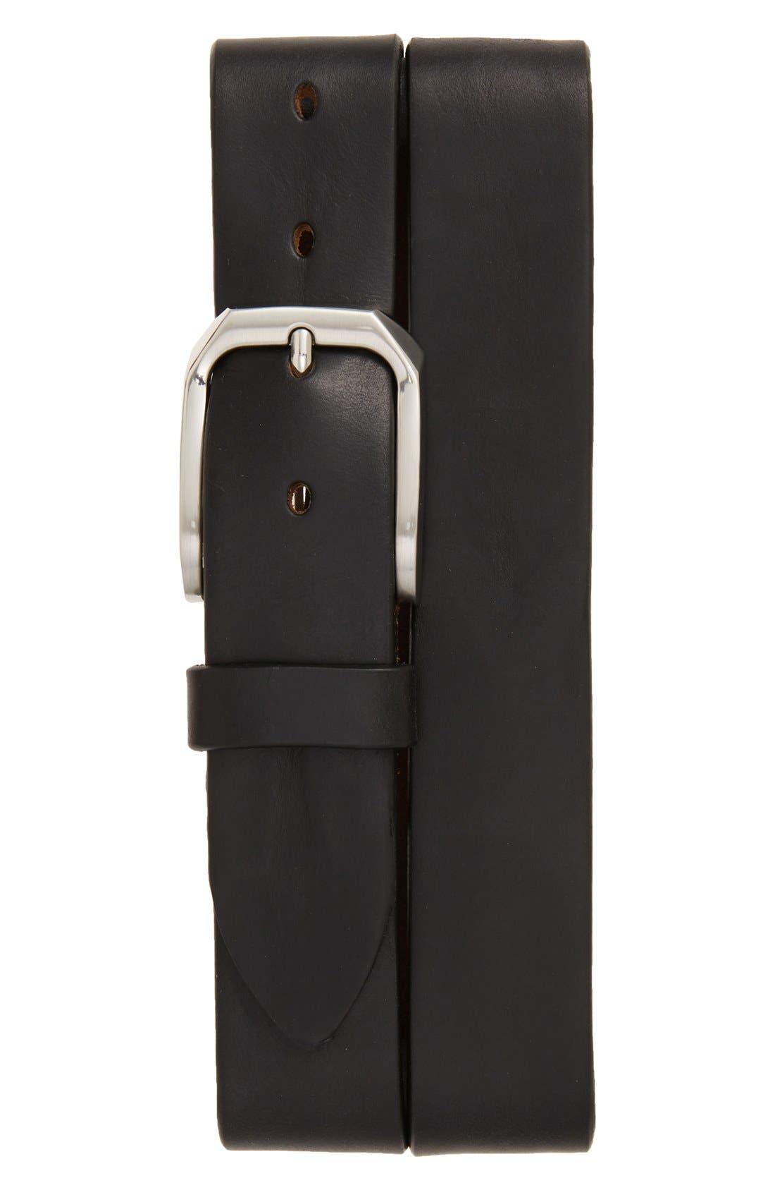 'Gunner' Leather Belt,                             Main thumbnail 1, color,                             BLACK