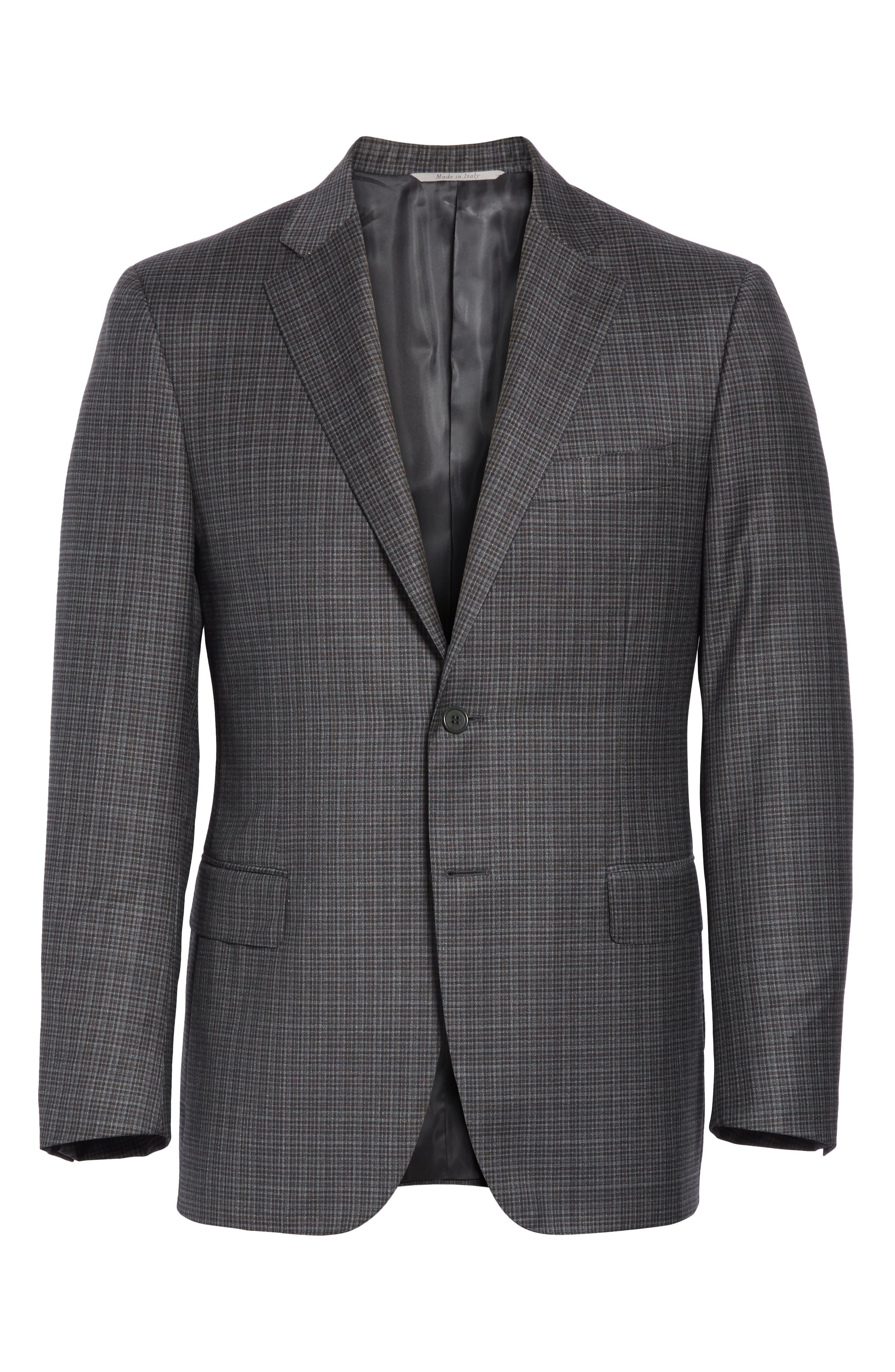 Classic Fit Check Wool Sport Coat,                             Alternate thumbnail 5, color,                             DARK GREY
