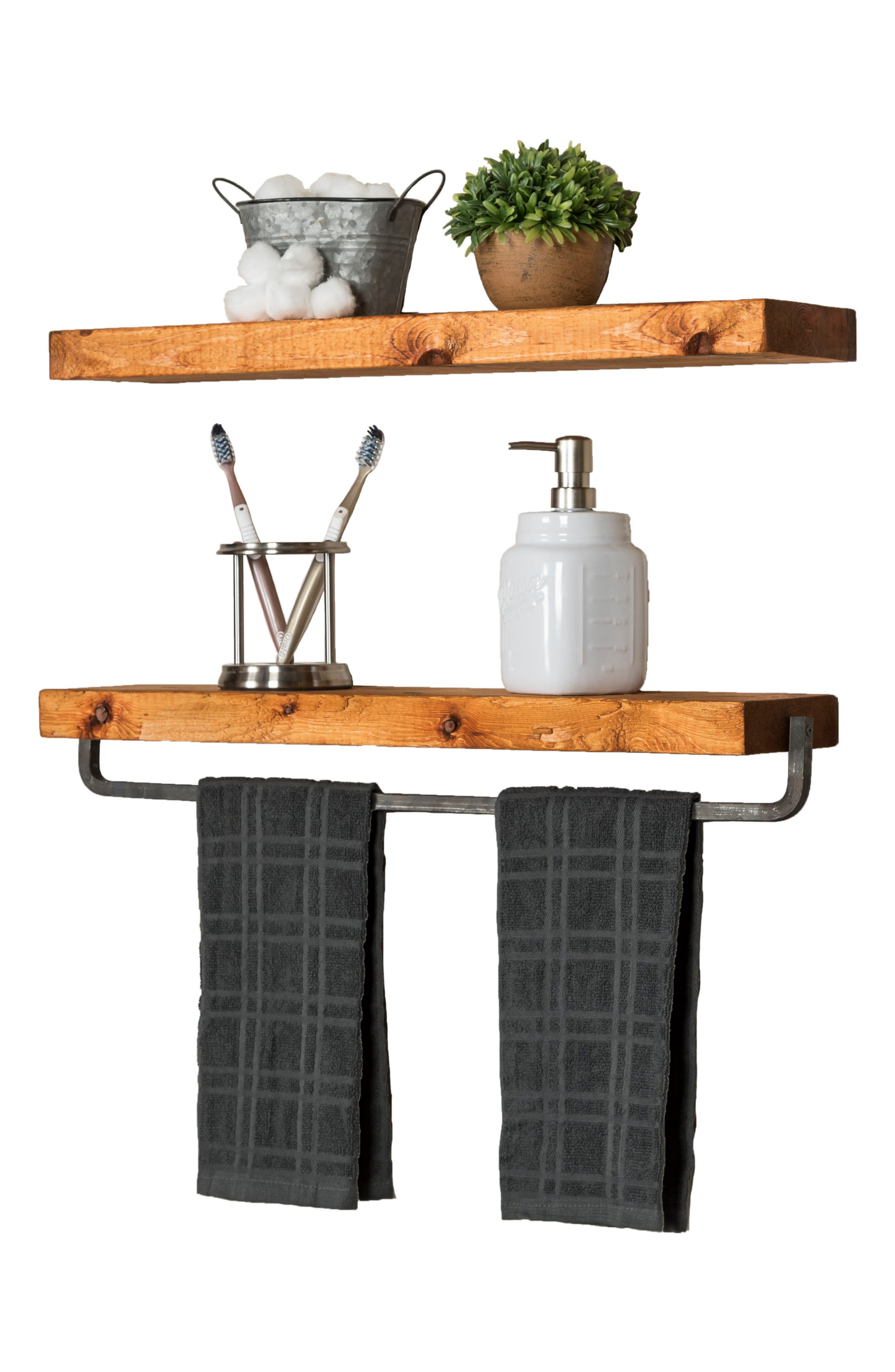 Set of 2 Floating Shelves with Towel Rack,                             Alternate thumbnail 6, color,