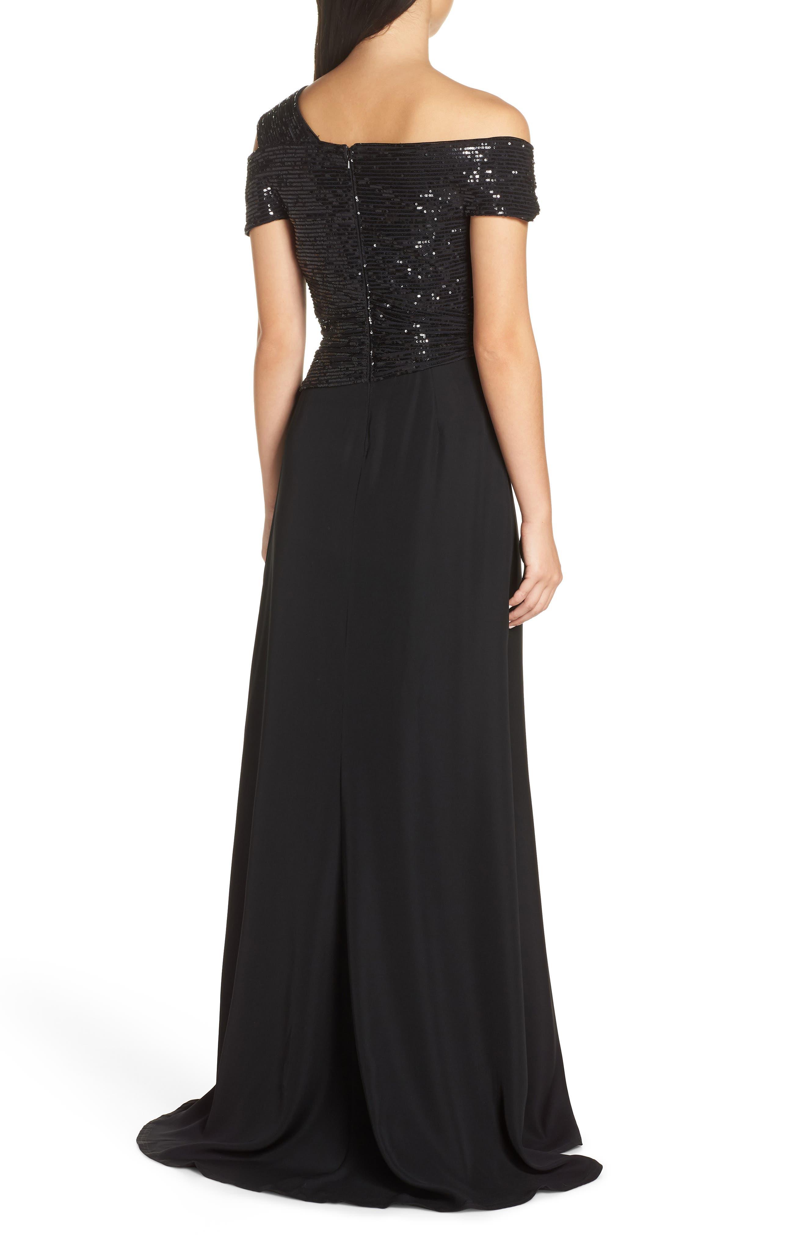 Off-Shoulder Sequin Bodice Gown,                             Alternate thumbnail 2, color,                             BLACK