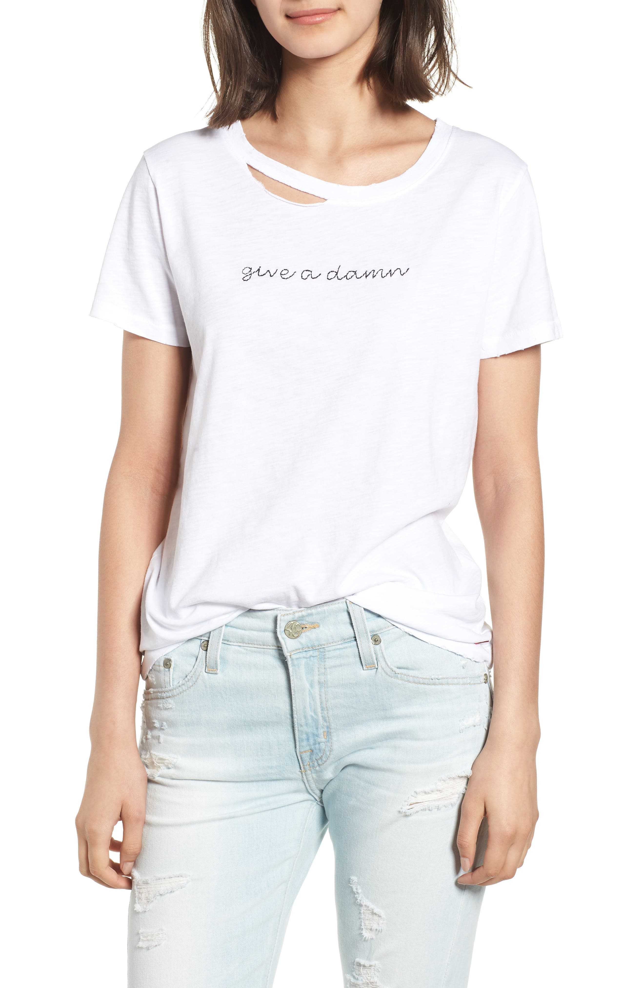 Harlow Give a Damn Distressed Tee,                         Main,                         color, WHITE