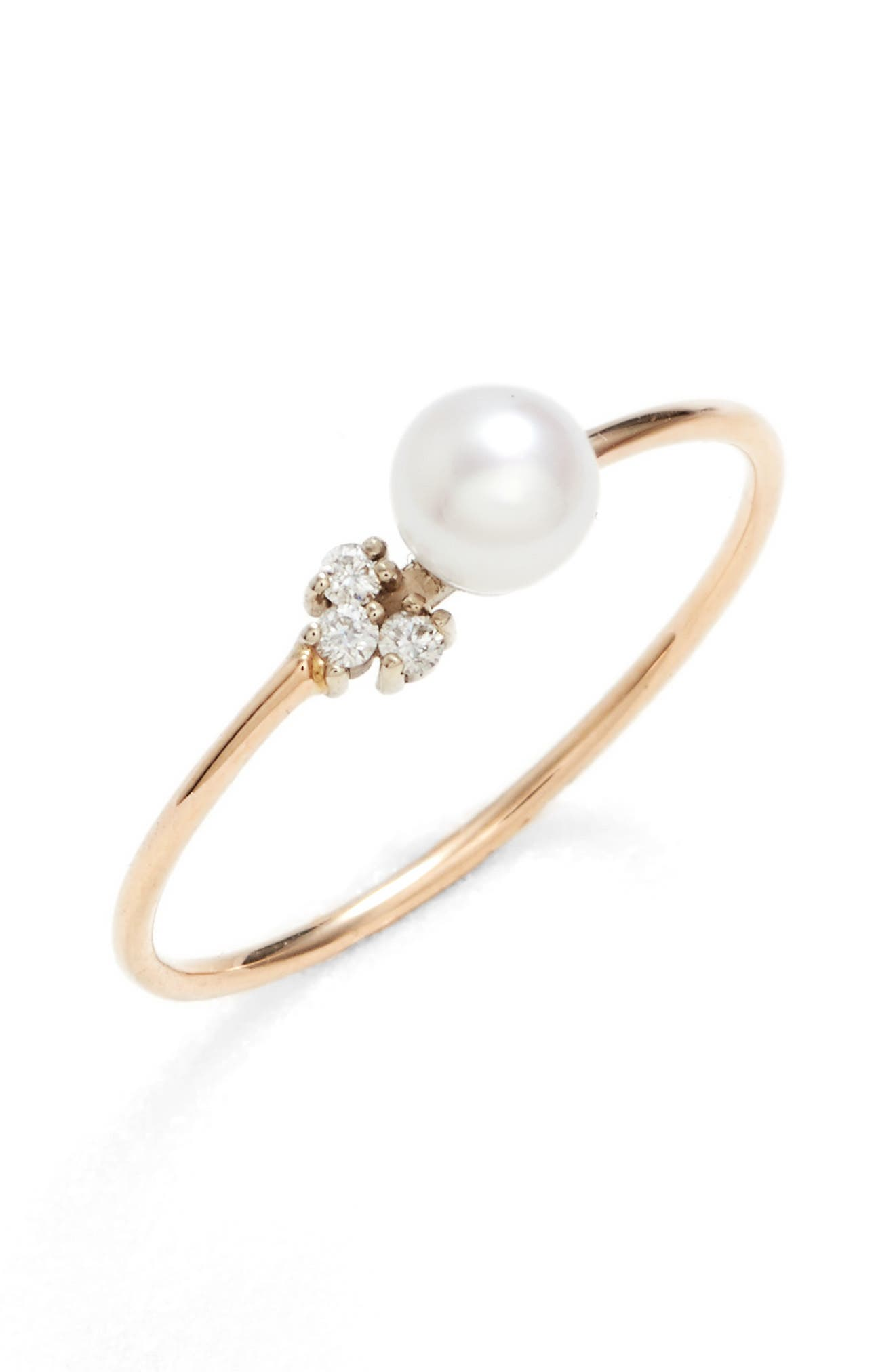 Pearl & Diamond Ring,                         Main,                         color, YELLOW GOLD/ WHITE PEARL
